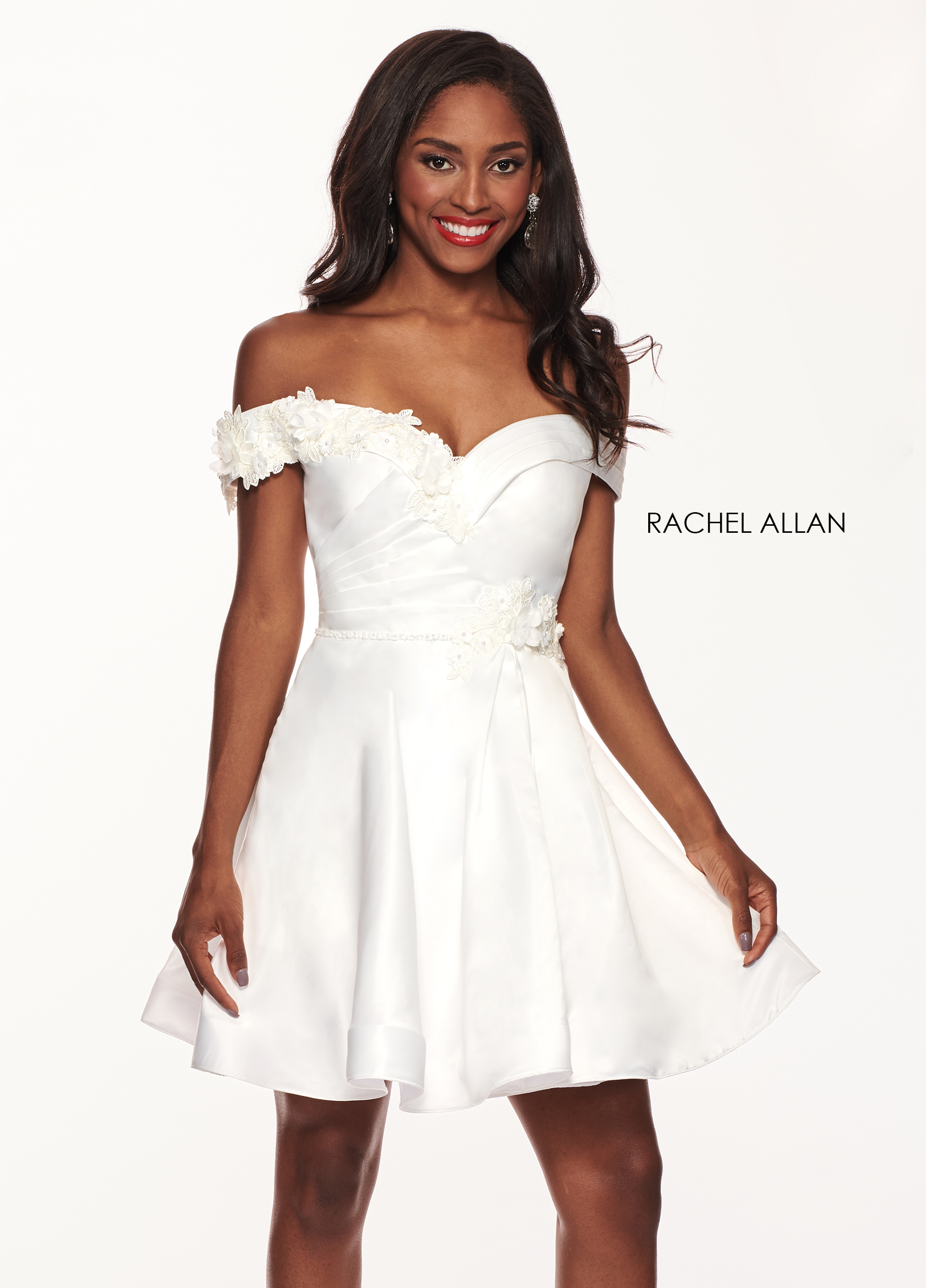 Off The Shoulder A-Line Cocktail Dresses in White Color