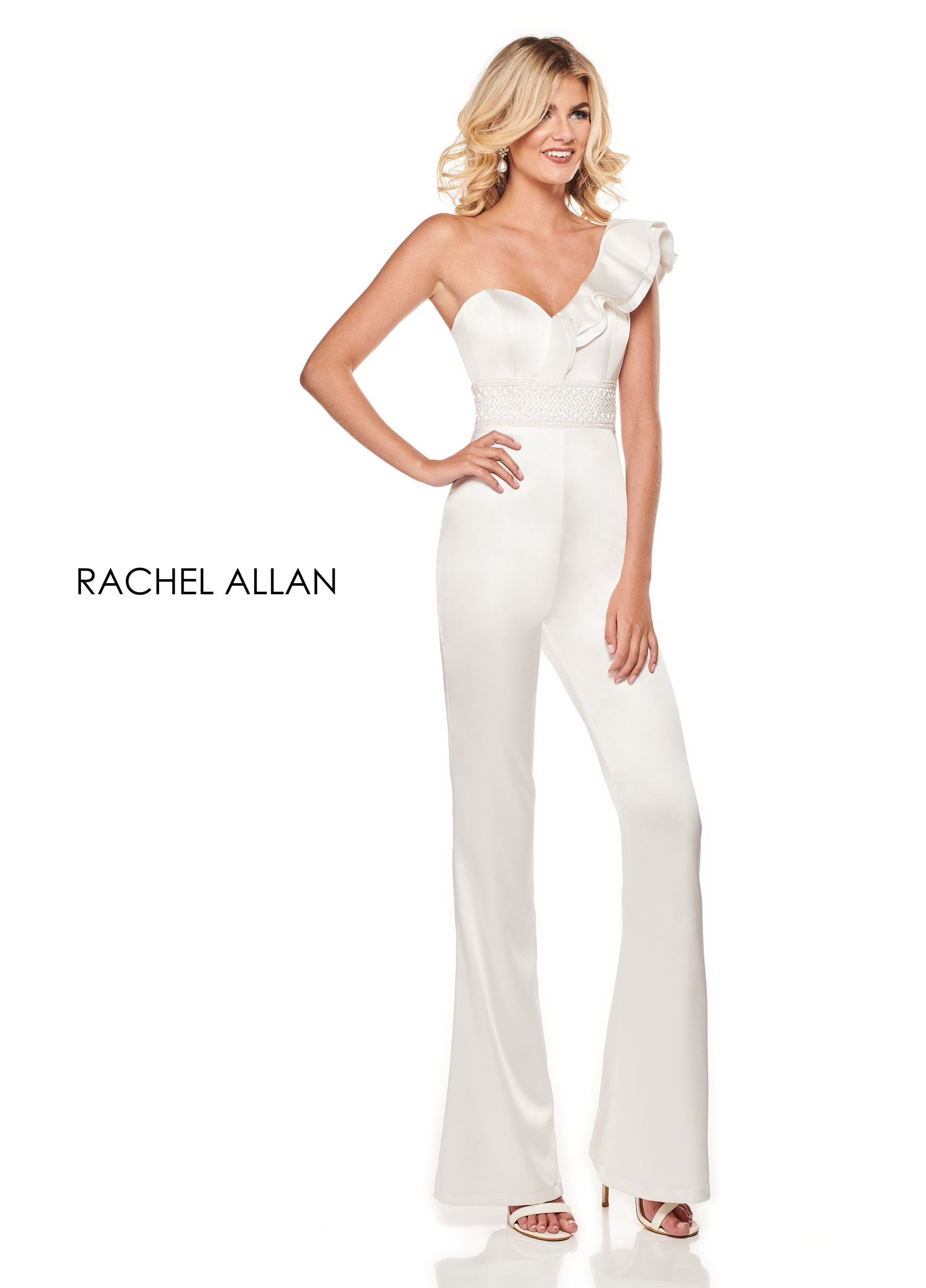 One Shoulder Jumpsuit Cocktail Dresses in White Color