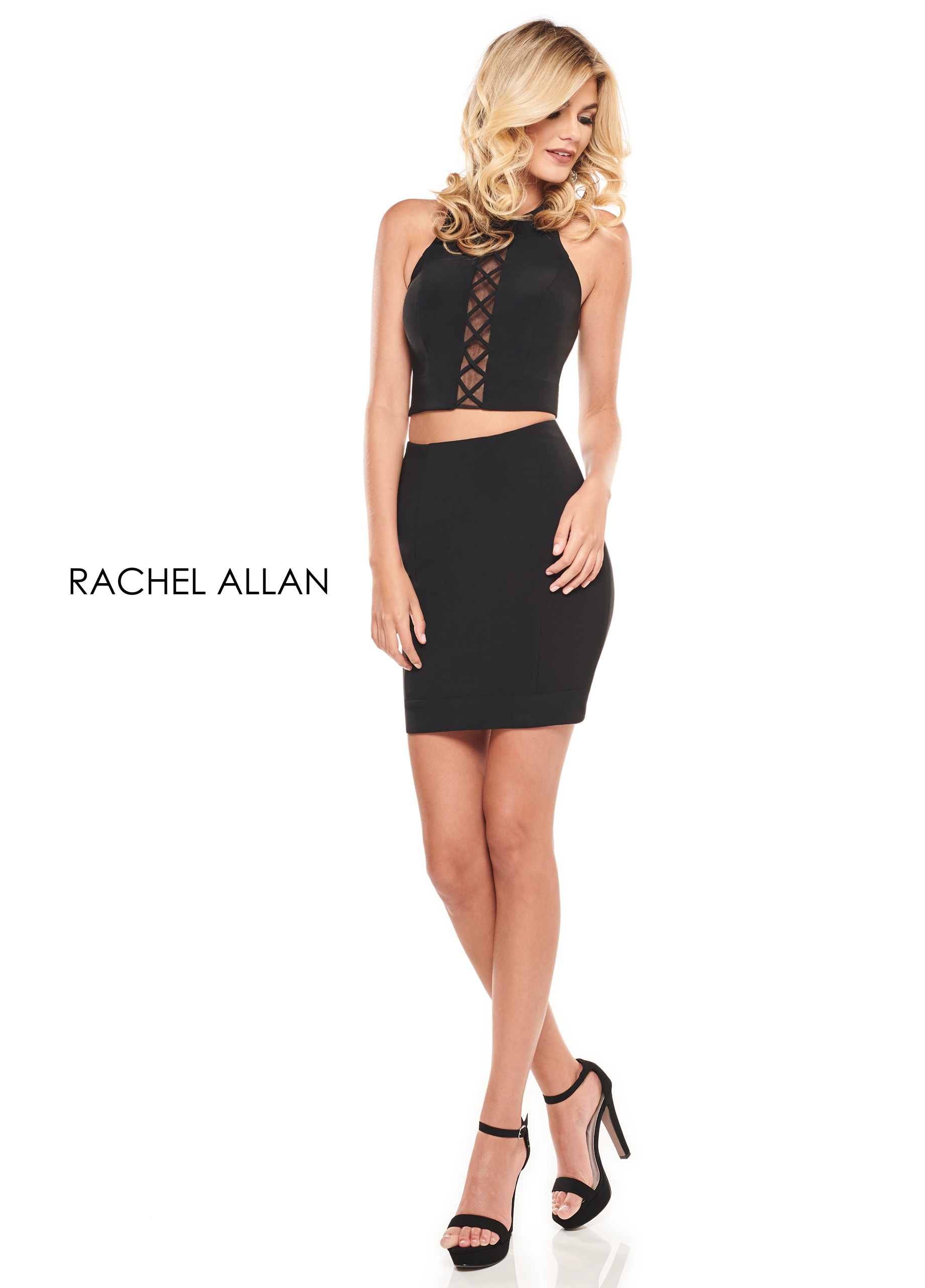 Scoop Neck Two-Piece Cocktail Dresses in Black Color