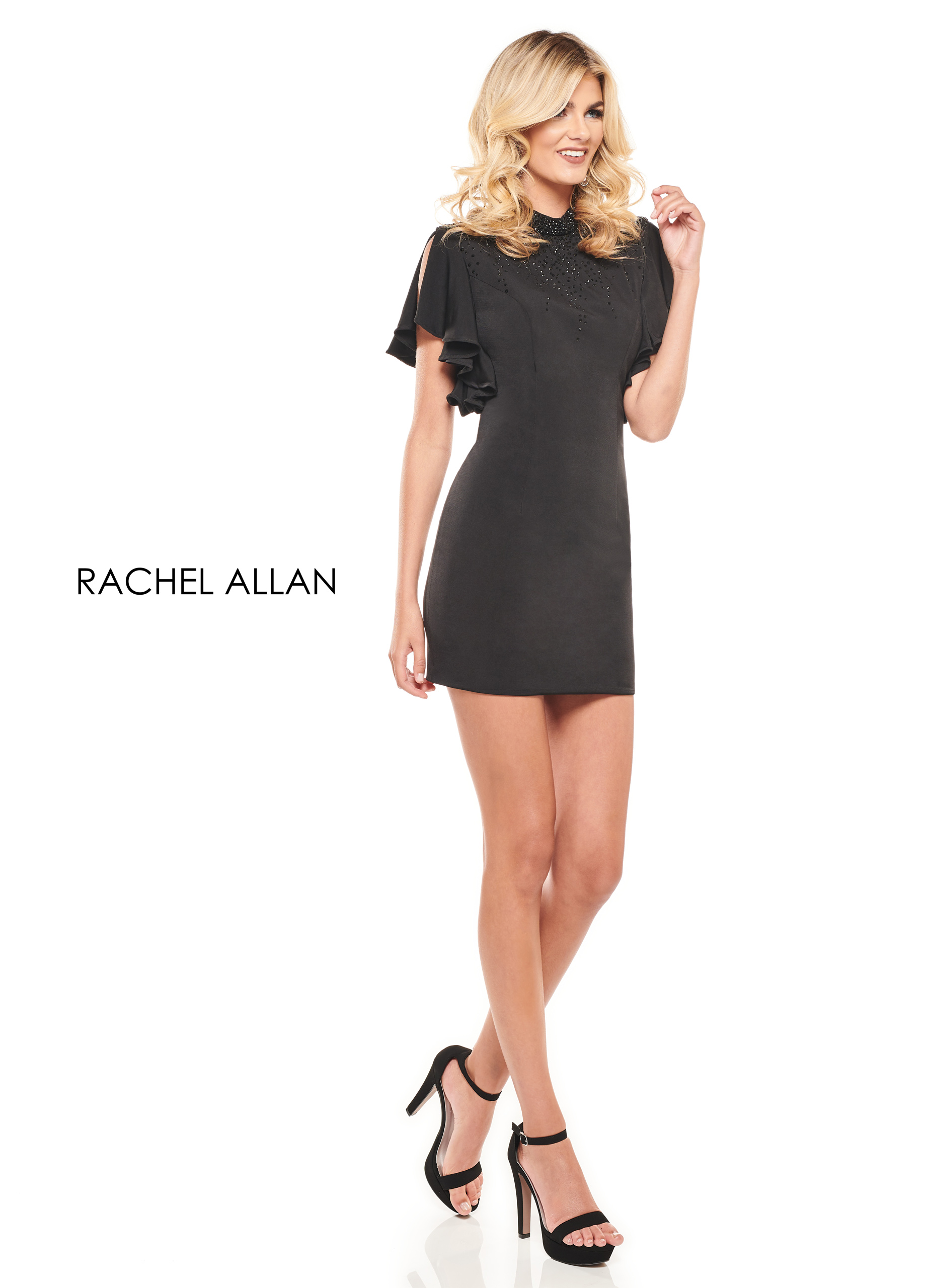 High Neckline Fitted Mini Cocktail Dresses in Black Color