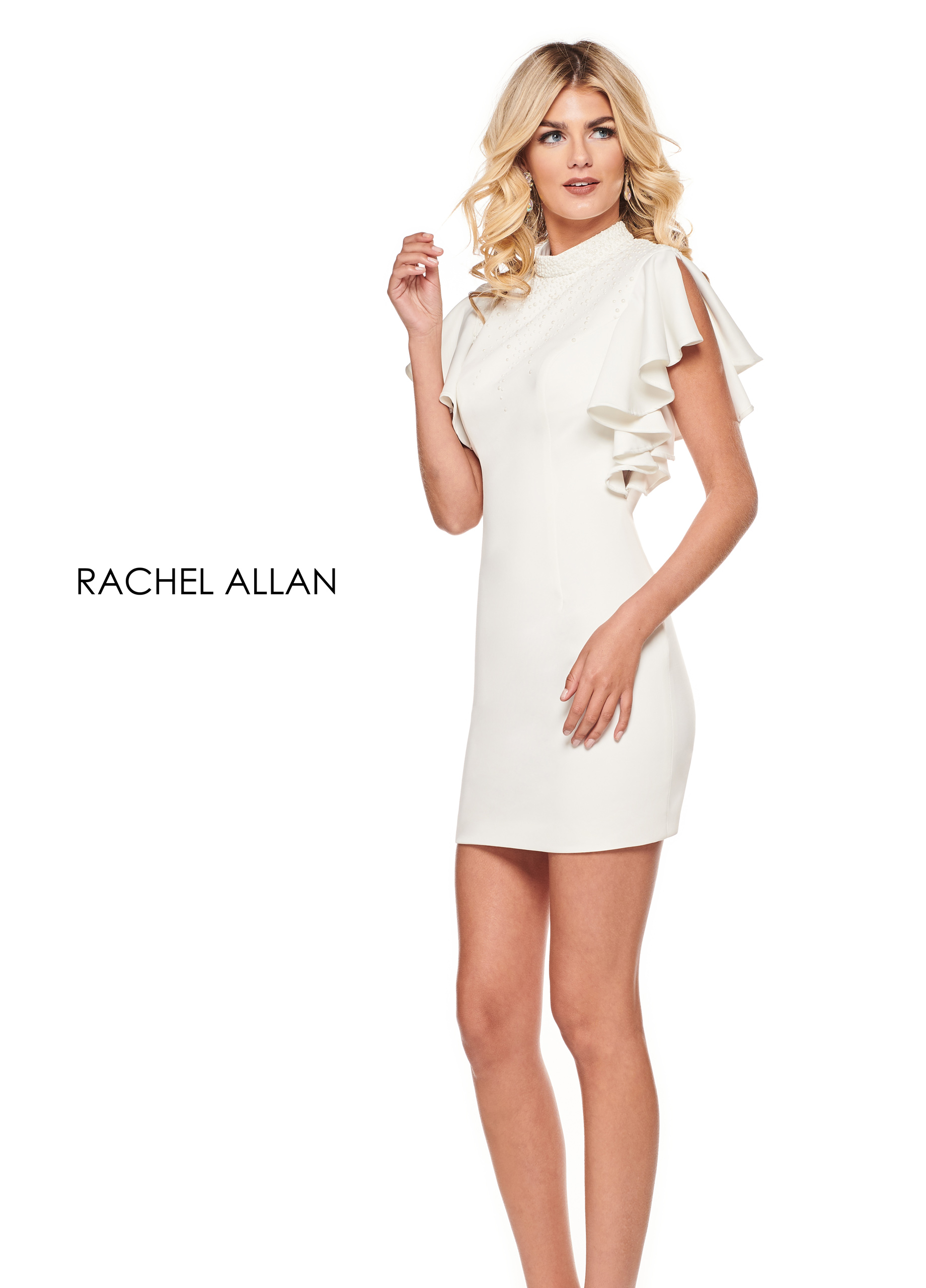 High Neckline Fitted Mini Cocktail Dresses in White Color
