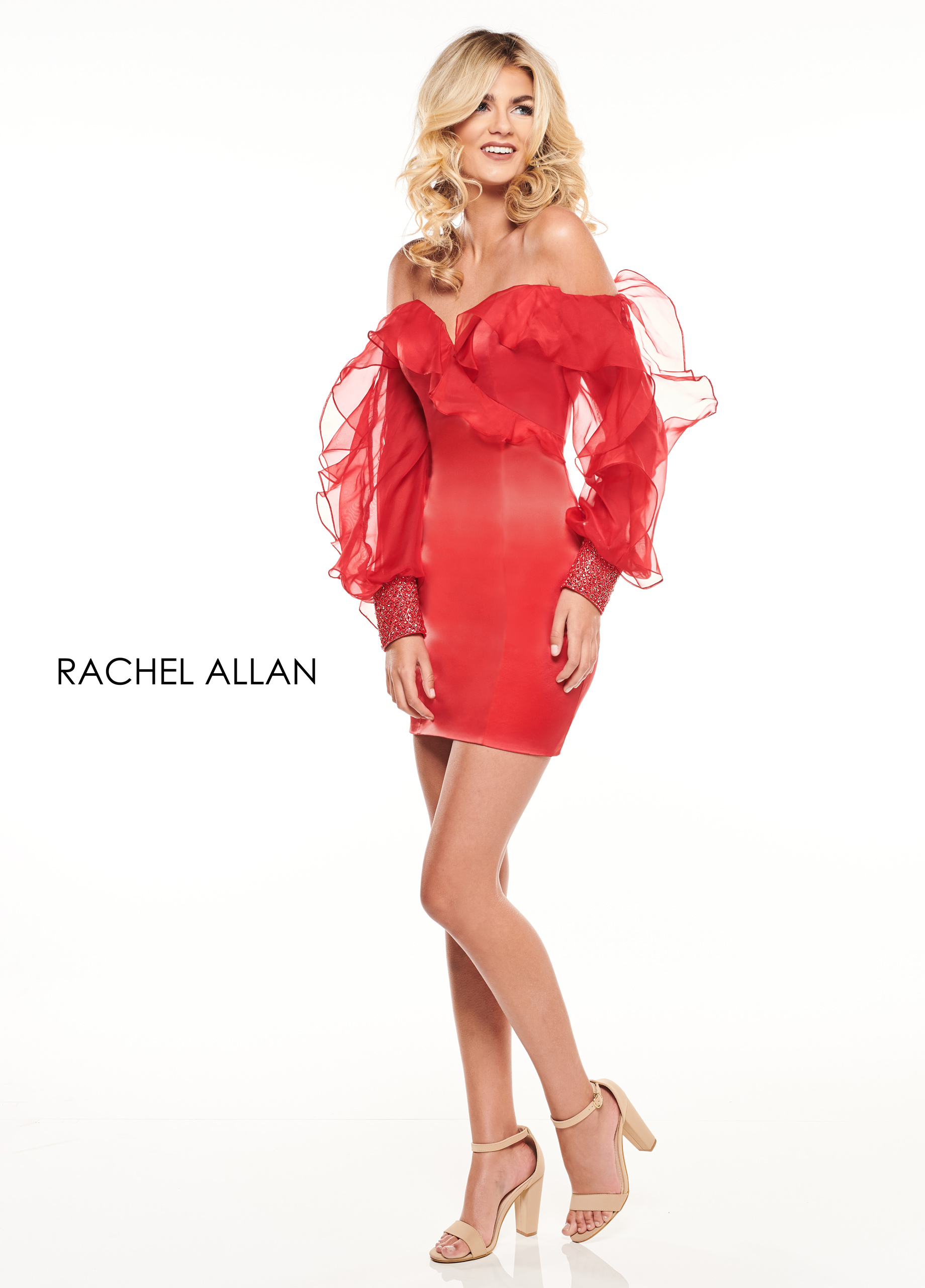 Off The Shoulder Fitted Mini Cocktail Dresses in Red Color