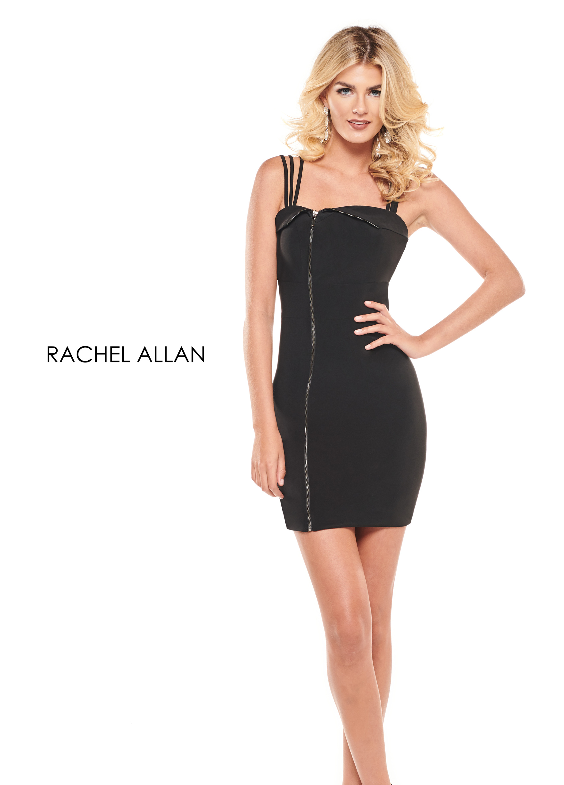 Square Fitted Mini Cocktail Dresses in Black Color