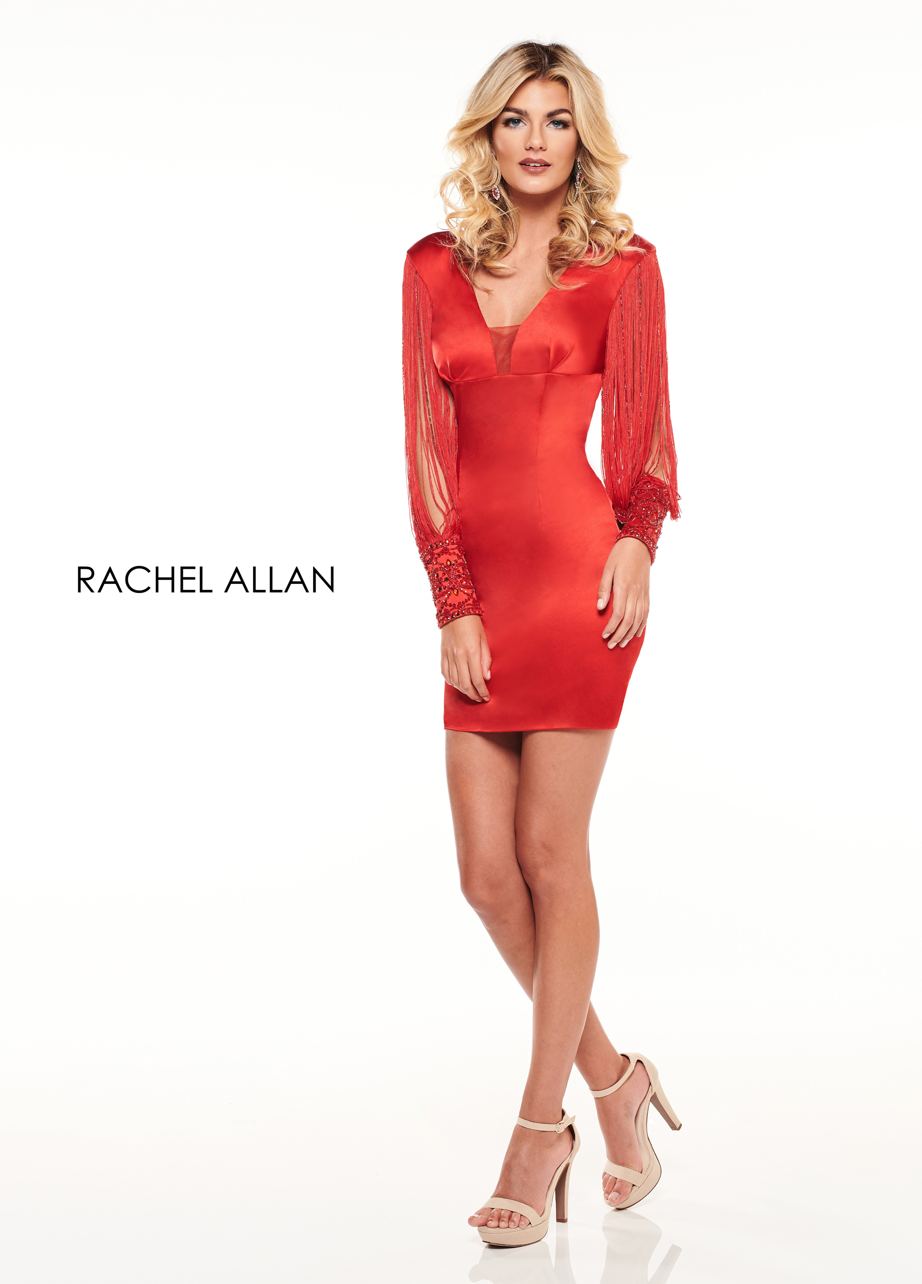 V-Neck Fitted Mini Cocktail Dresses in Red Color