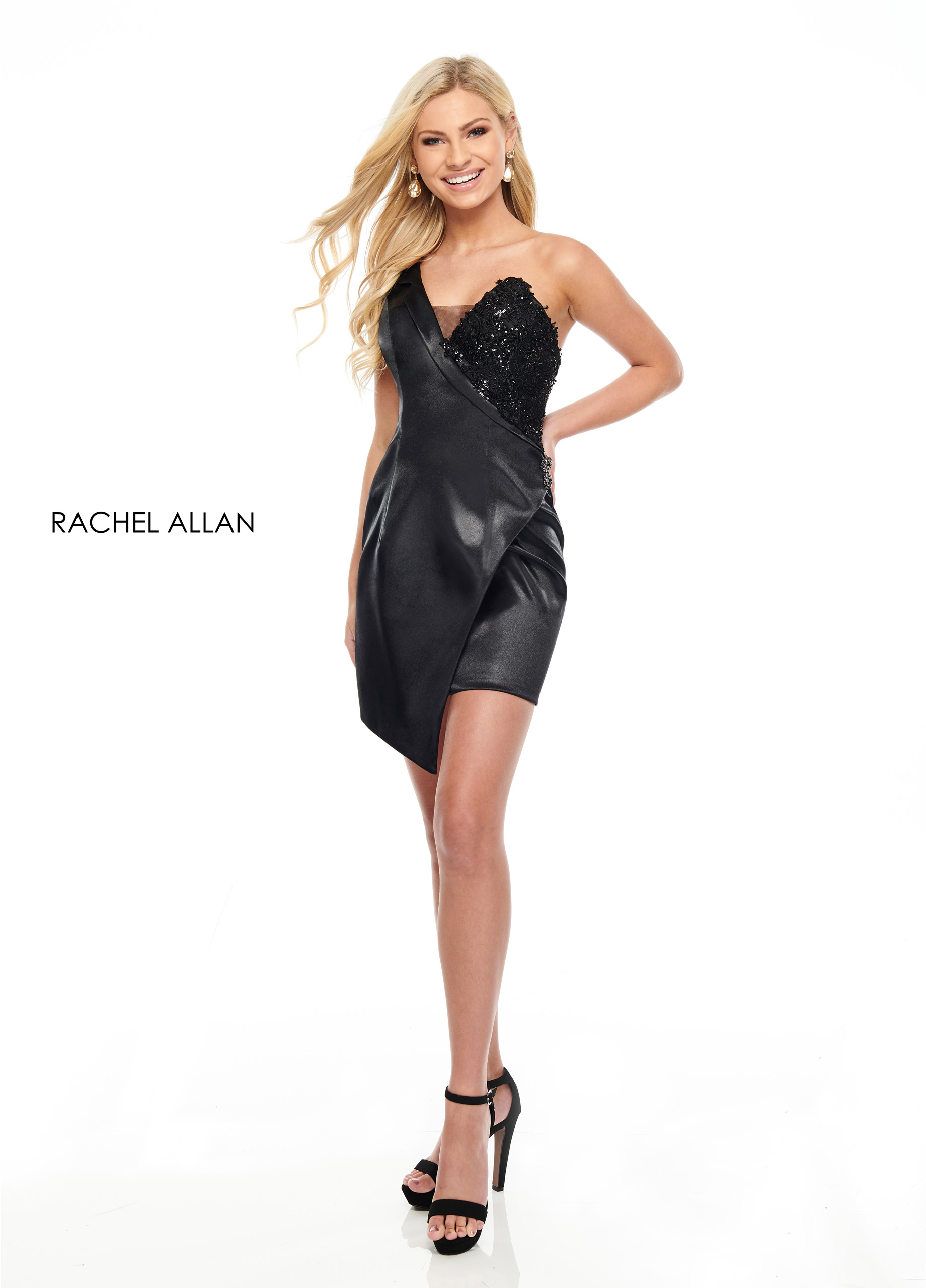 One Shoulder Fitted Mini Cocktail Dresses in Black Color