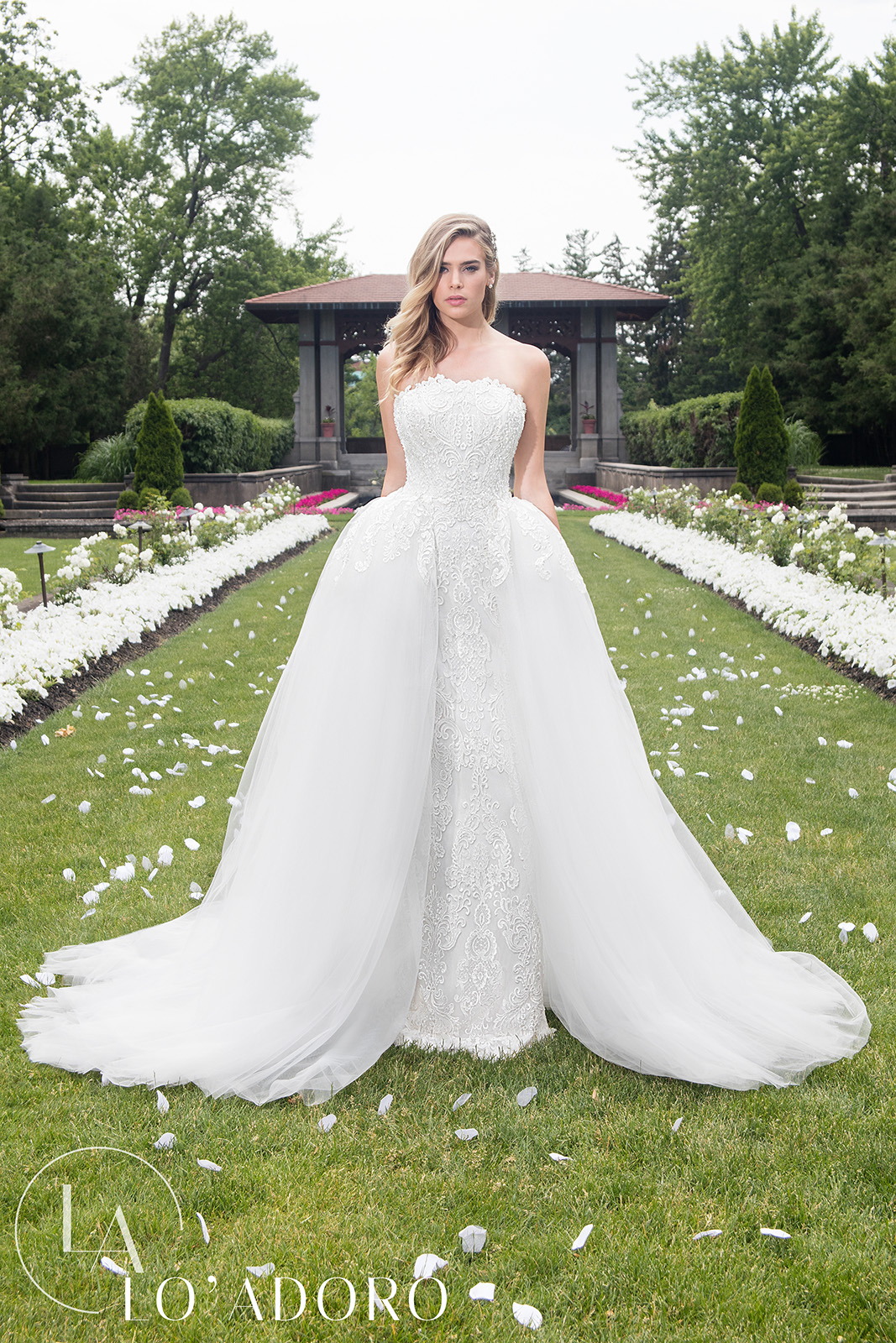 Strapless Skirt With Overlay Lo' Adoro Bridal in White Color