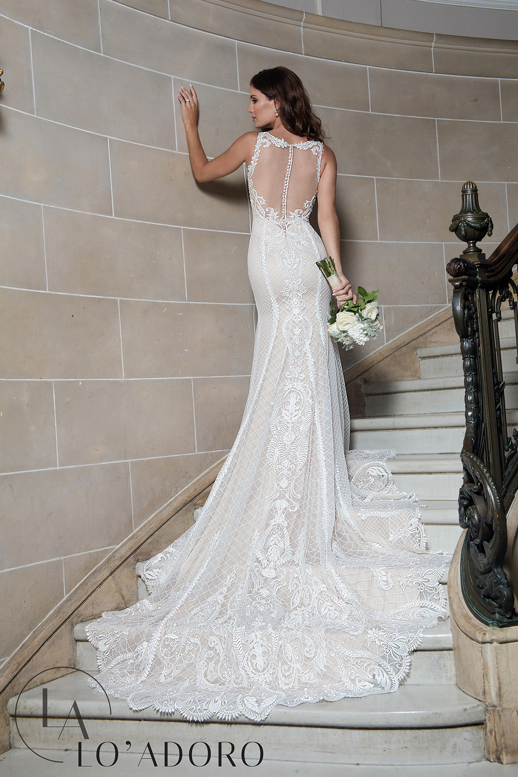 High Neckline Fitted Long Lo' Adoro Bridal in White Color