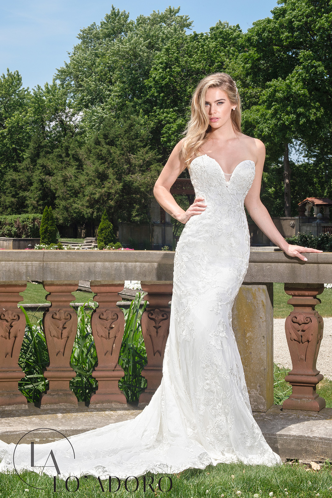 Strapless Fitted Long Lo' Adoro Bridal in White Color