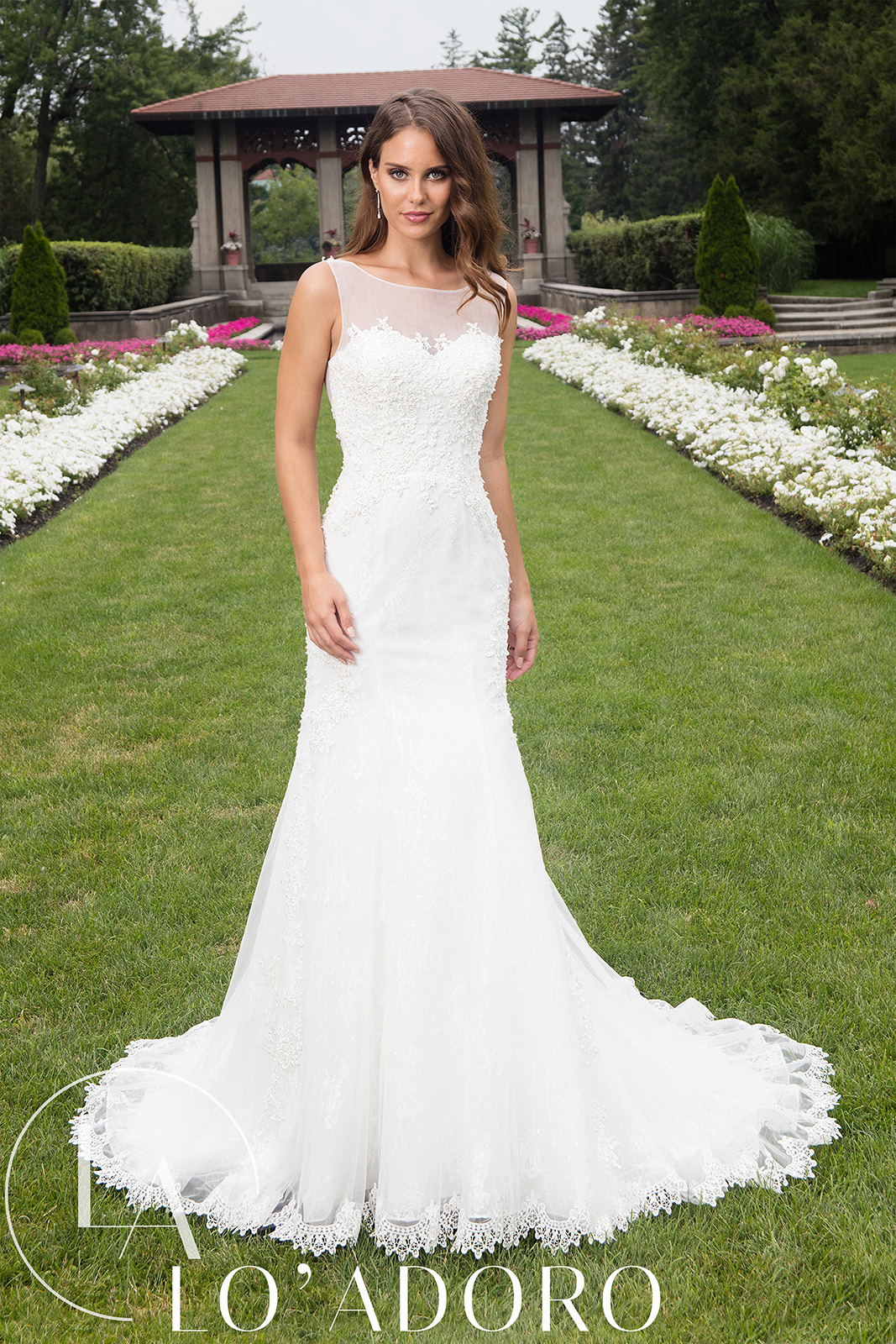 Sheer Fitted Long Lo' Adoro Bridal in White Color