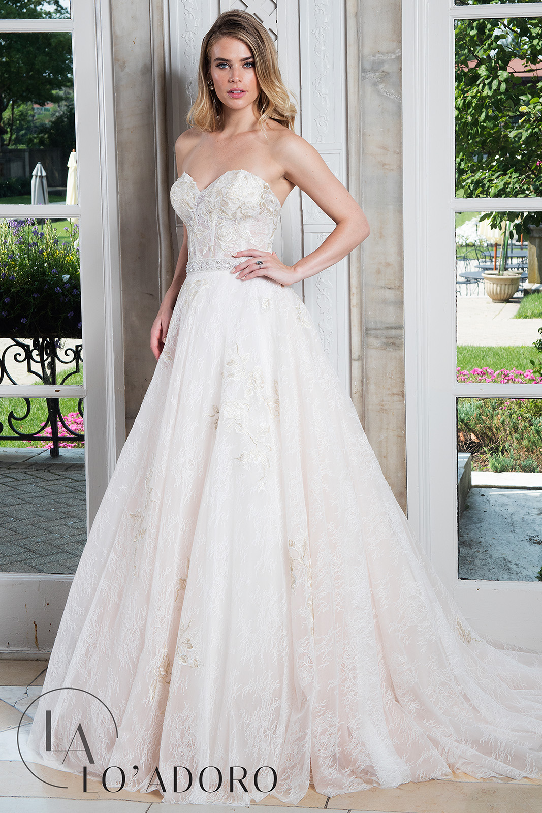 Sweetheart Ball Gowns Lo' Adoro Bridal in White Color