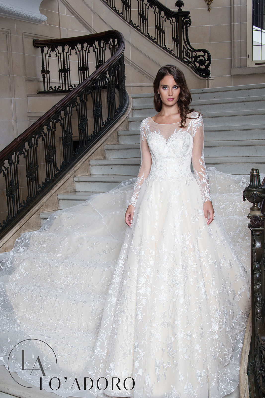 Sheer Ball Gowns Lo' Adoro Bridal in White Color