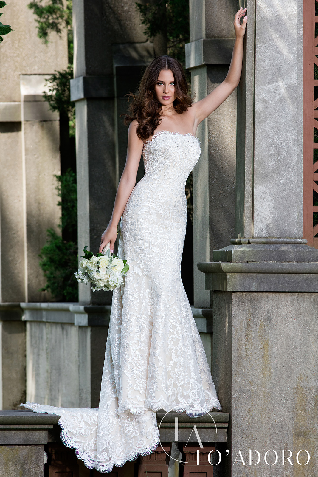 Strapless Fitted Long Lo' Adoro Bridal in Champagne Color
