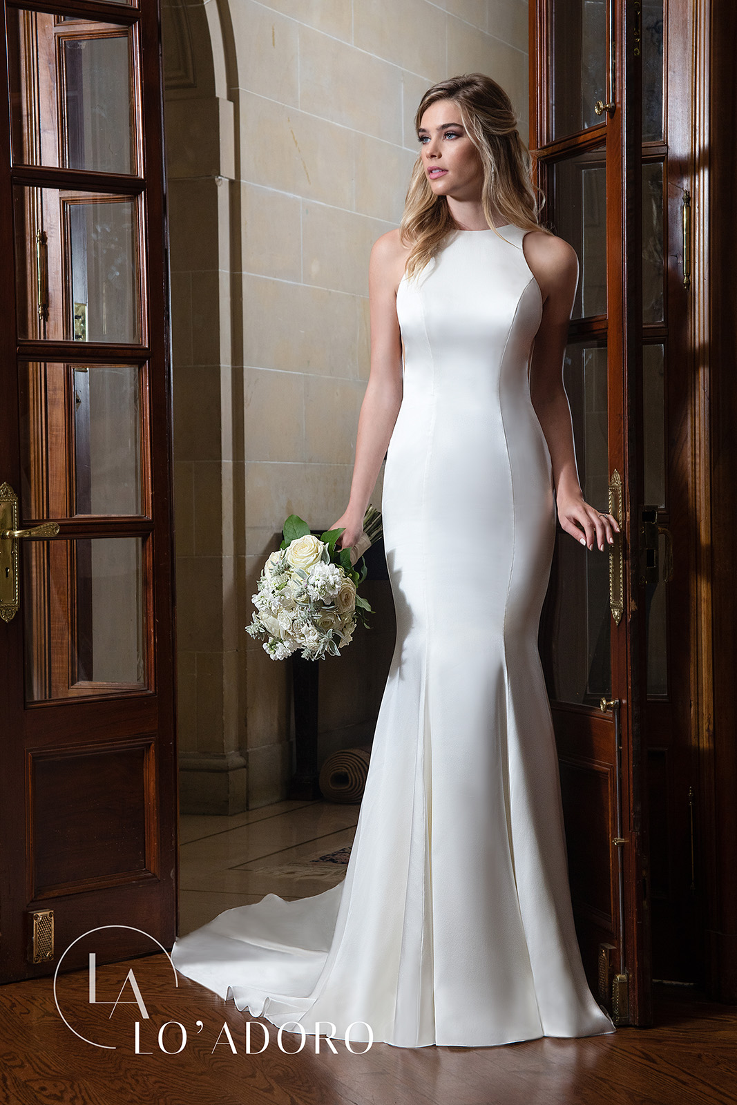 High Neckline Fitted Long Lo' Adoro Bridal in Ivory Color