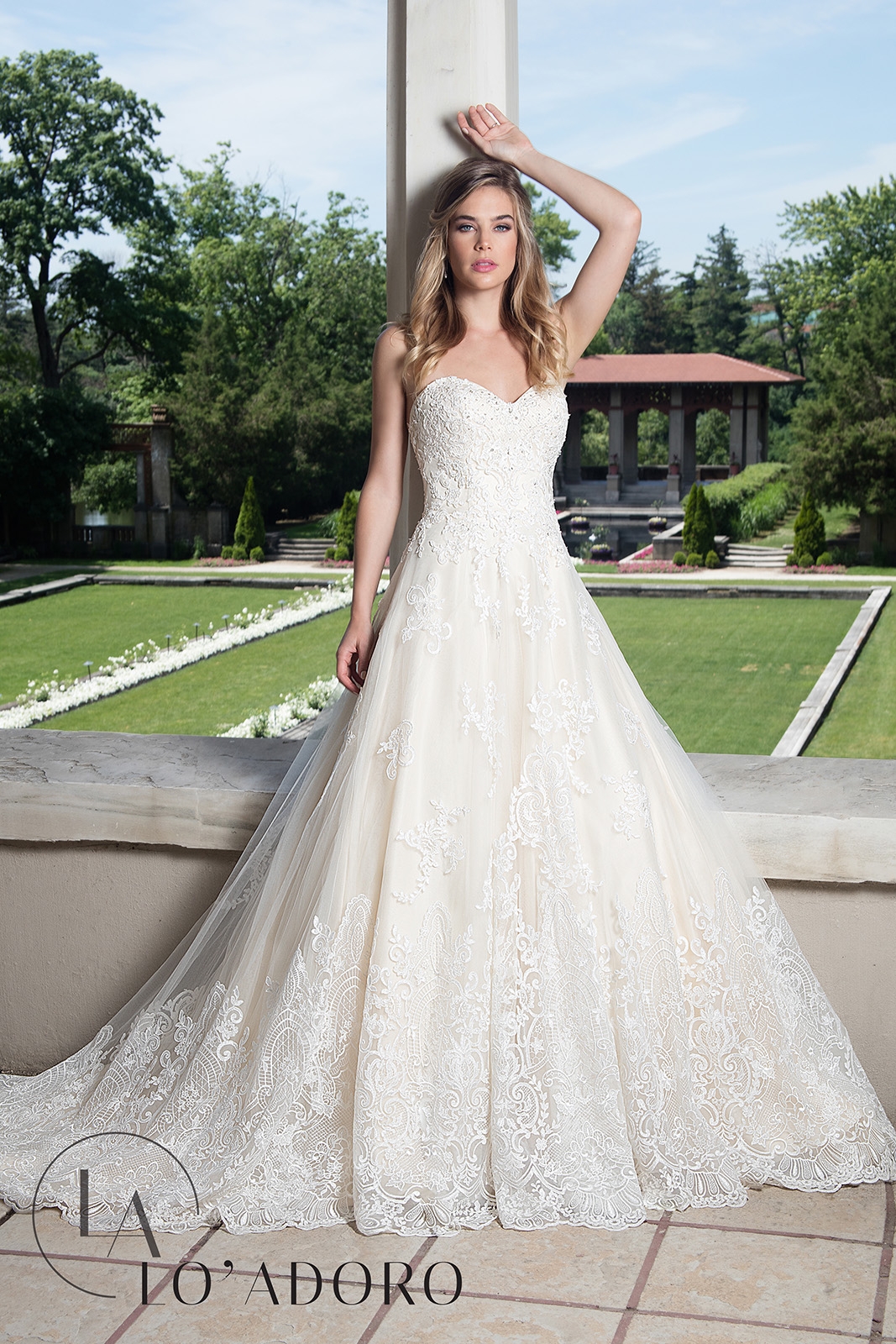 Sweetheart Ball Gowns Lo' Adoro Bridal in Champagne Color