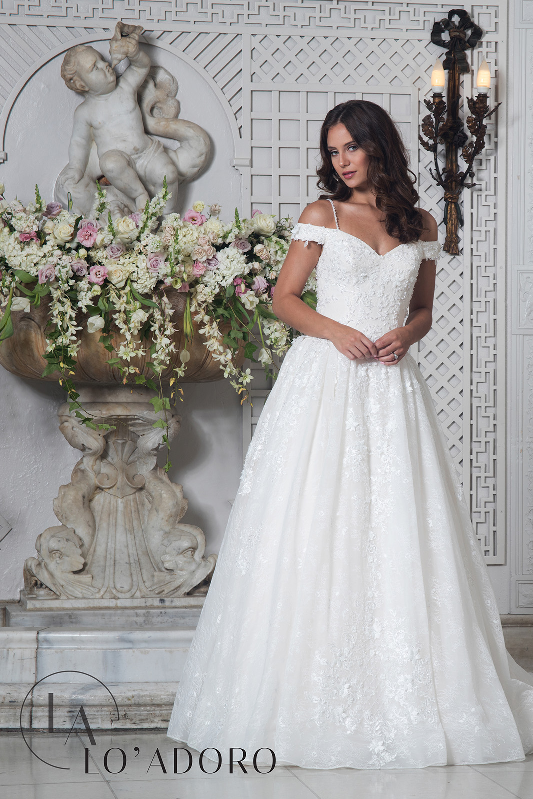 Off The Shoulder Ball Gowns Lo' Adoro Bridal in White Color
