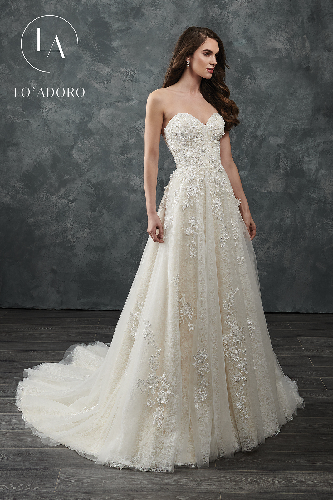 Sweetheart A-Line Lo' Adoro Bridal in Champagne Color