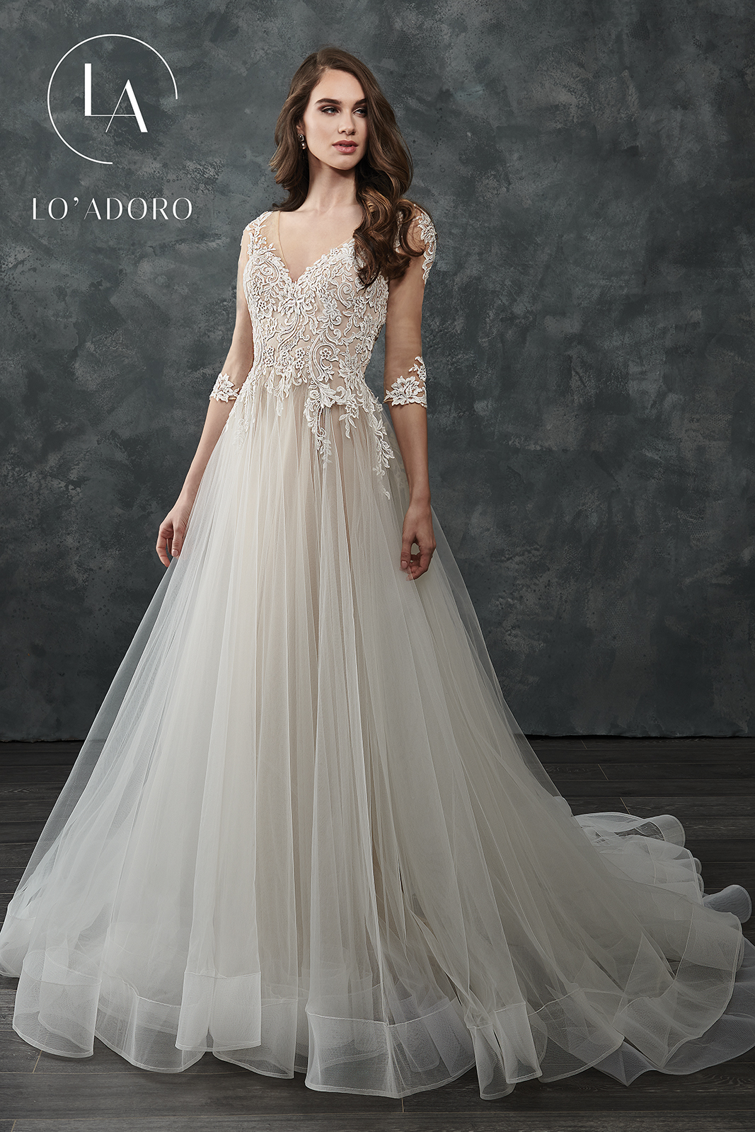 V-Neck Ball Gowns Lo' Adoro Bridal in Nude Color