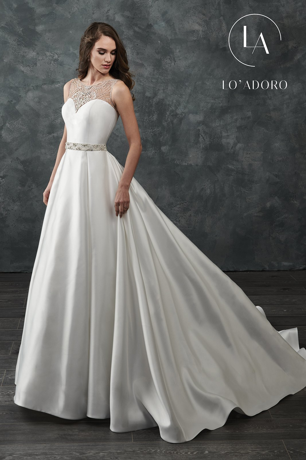 High Neckline Ball Gowns Lo' Adoro Bridal in Ivory Color