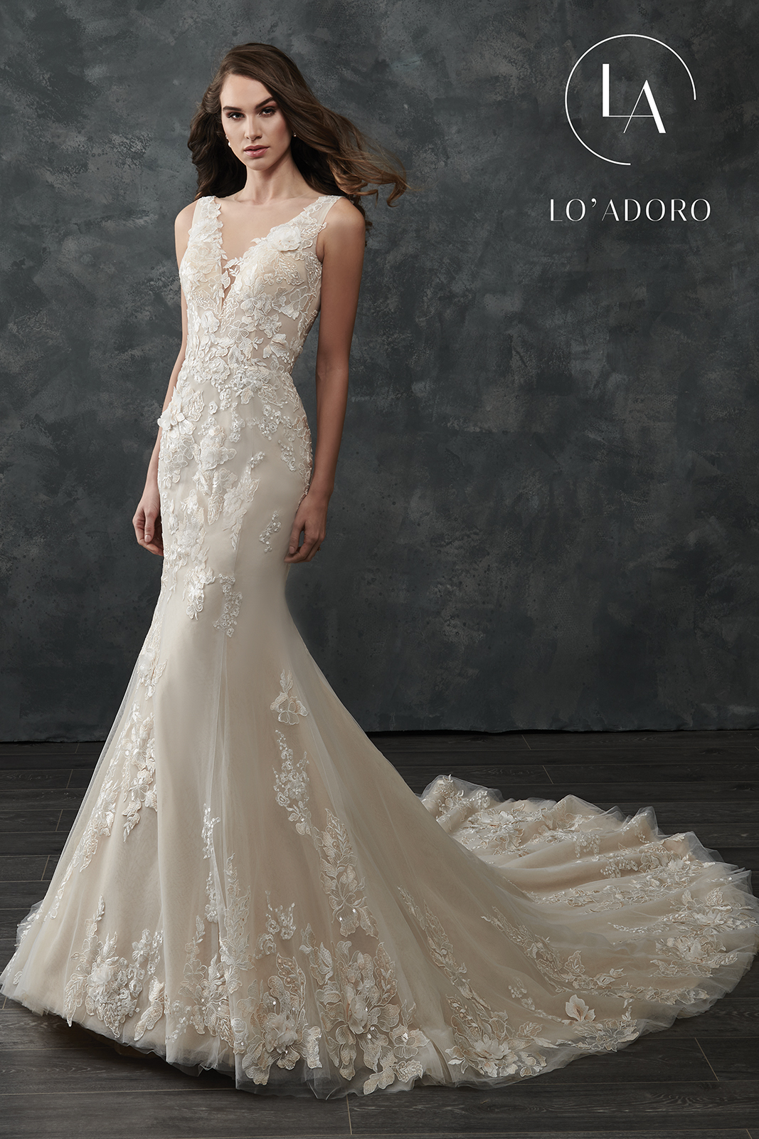 V-Neck Fitted Long Lo' Adoro Bridal in White Color