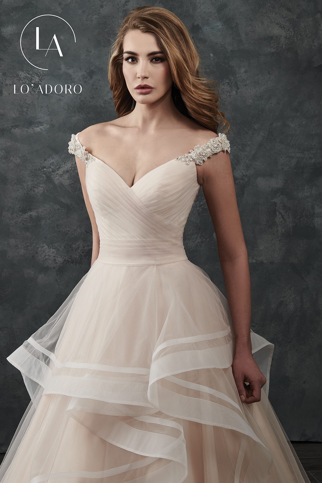 Off The Shoulder Ball Gowns Lo' Adoro Bridal in Champagne Color