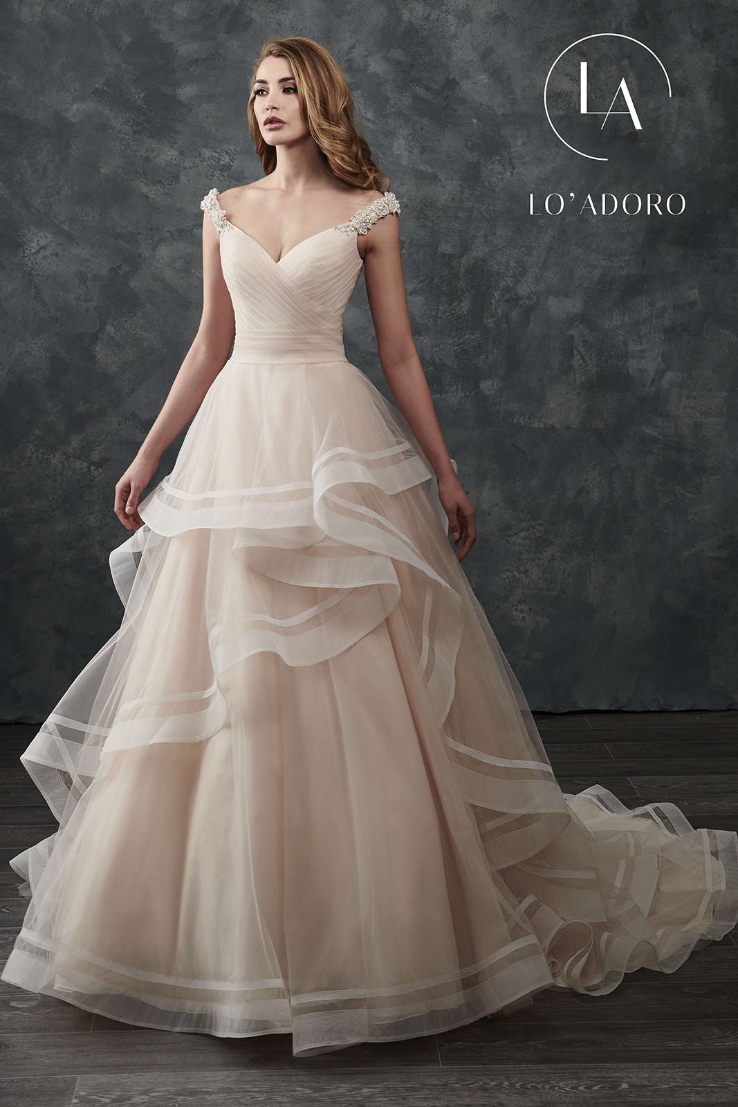 Off The Shoulder Ball Gowns Lo' Adoro Bridal in Ivory Color