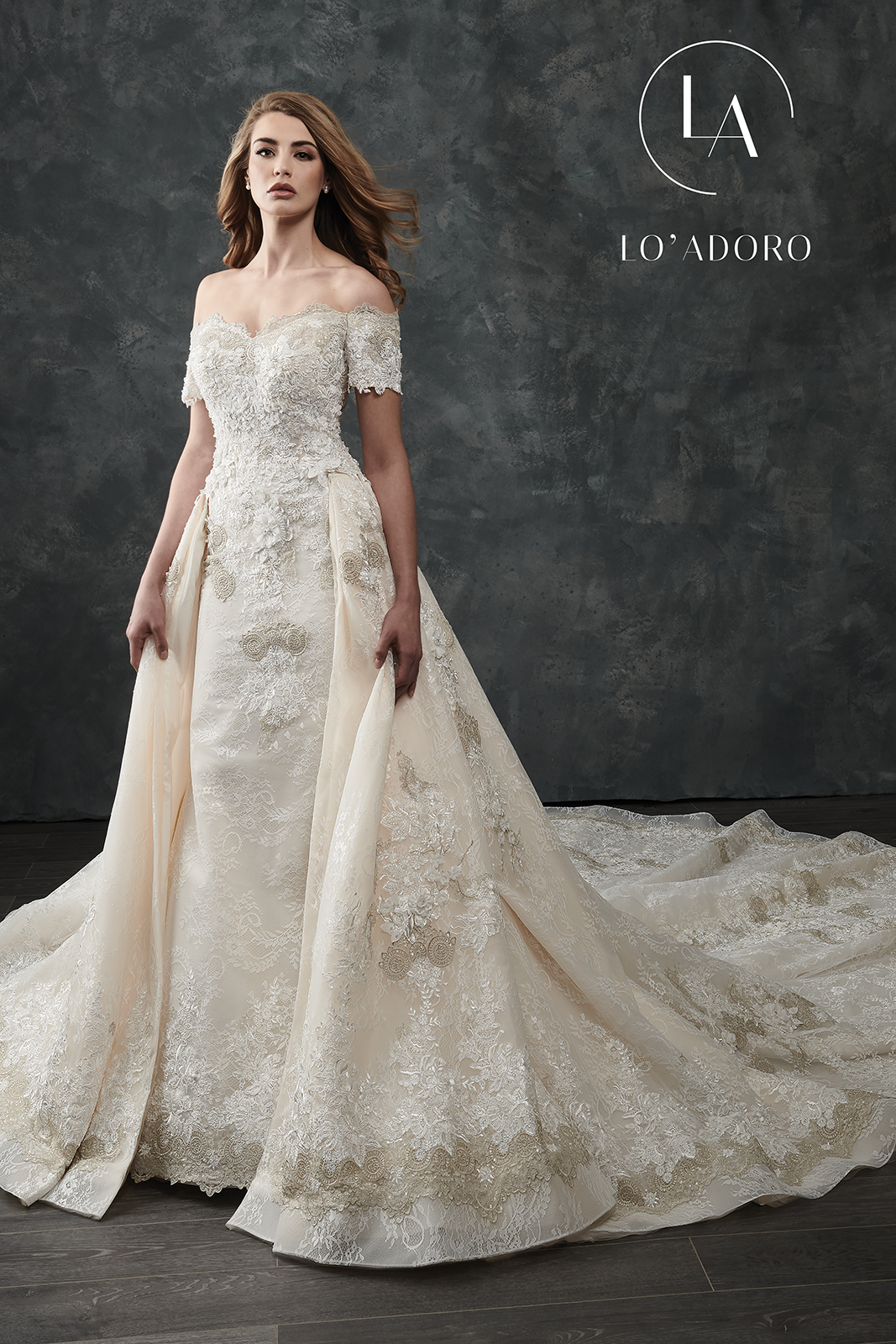 Off The Shoulder Mermaid Lo' Adoro Bridal in White Color