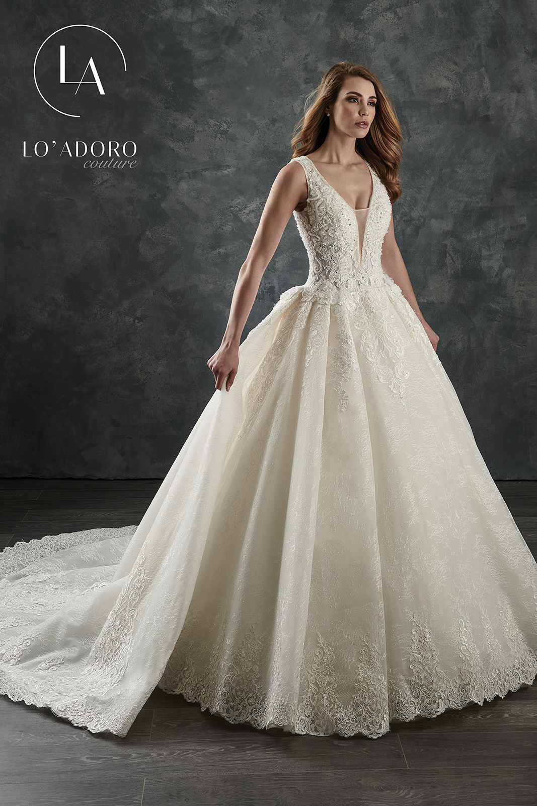 V-Neck Ball Gowns Lo' Adoro Couture BRIDAL in Ivory Color