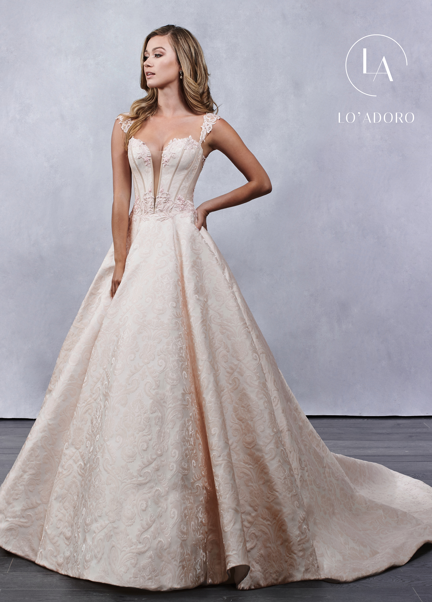 Sweetheart A-Line Lo' Adoro Bridal in Nude Color