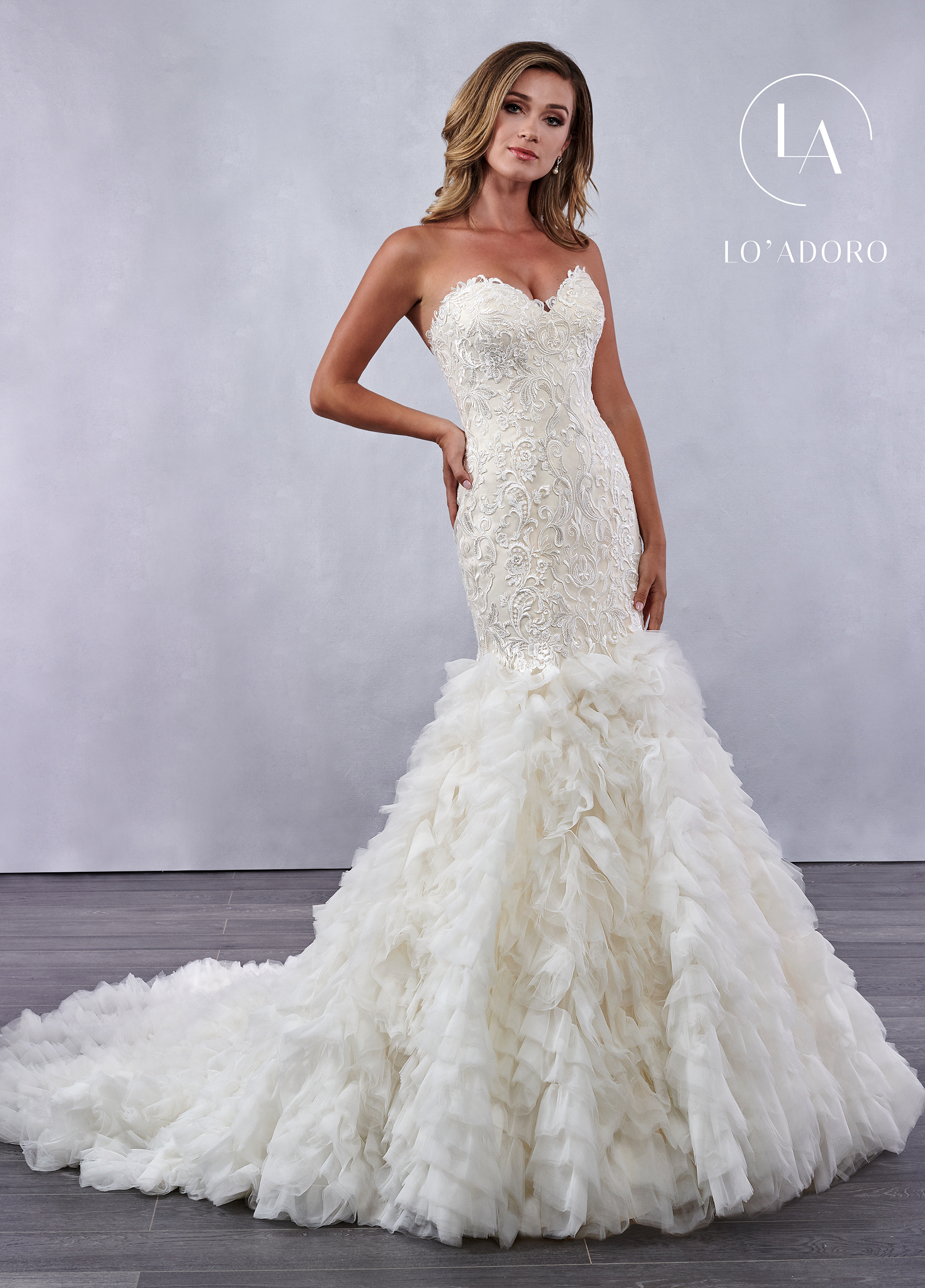 Strapless Mermaid Lo' Adoro Bridal in Ivory Color