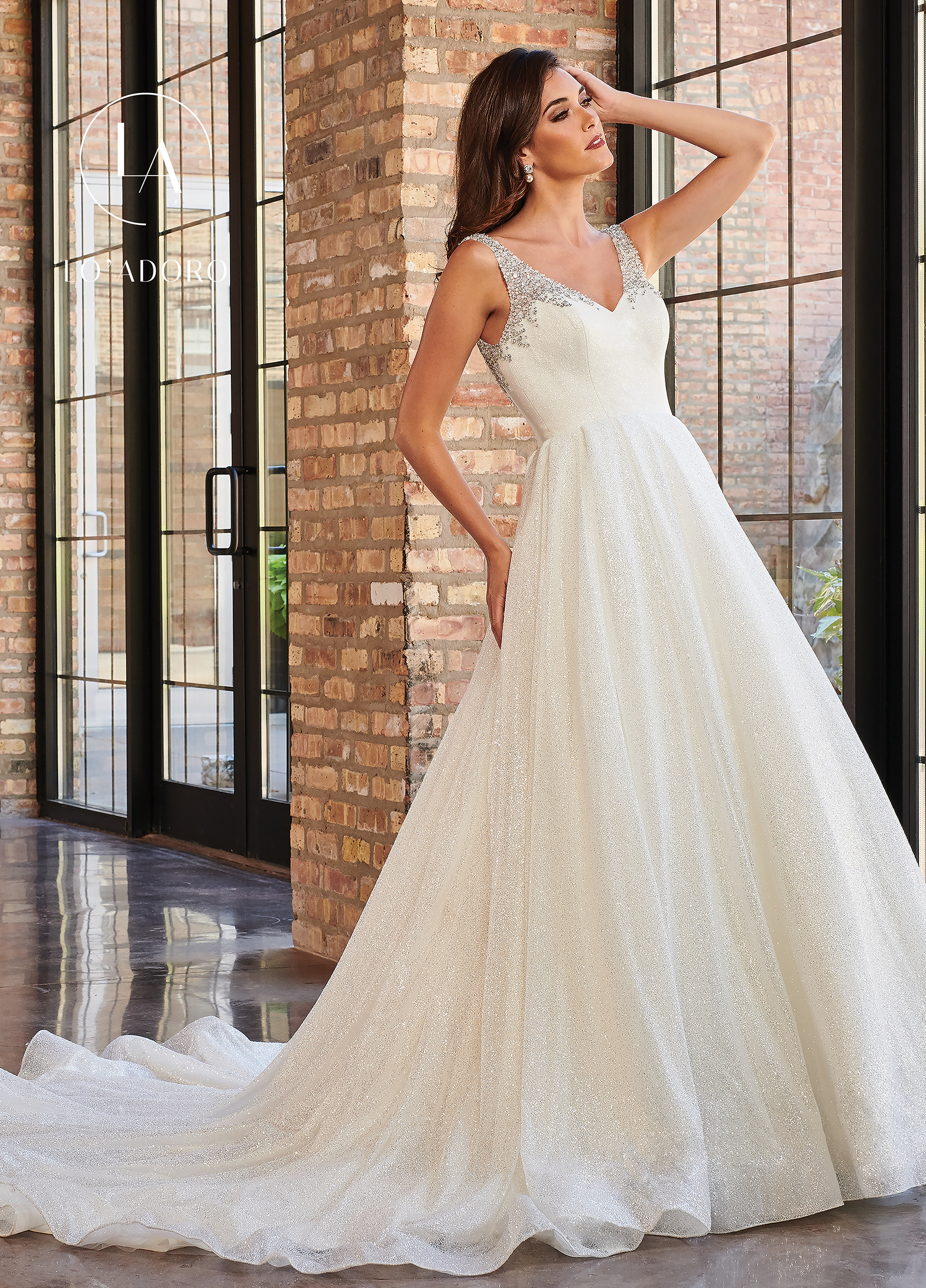 V-Neck Ball Gowns Lo' Adoro Couture BRIDAL in White Color