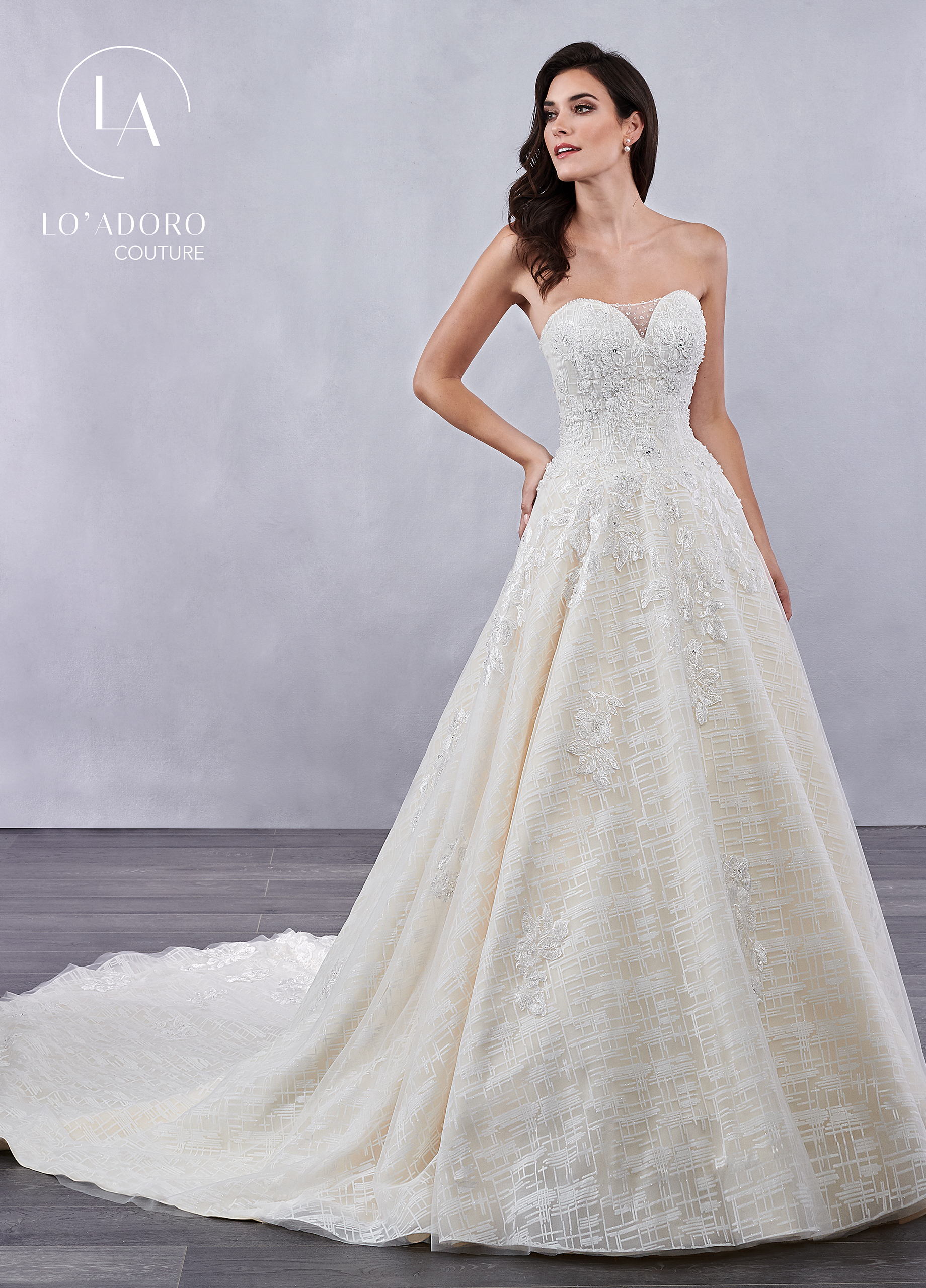 Strapless A-Line Lo' Adoro Couture BRIDAL in White Color