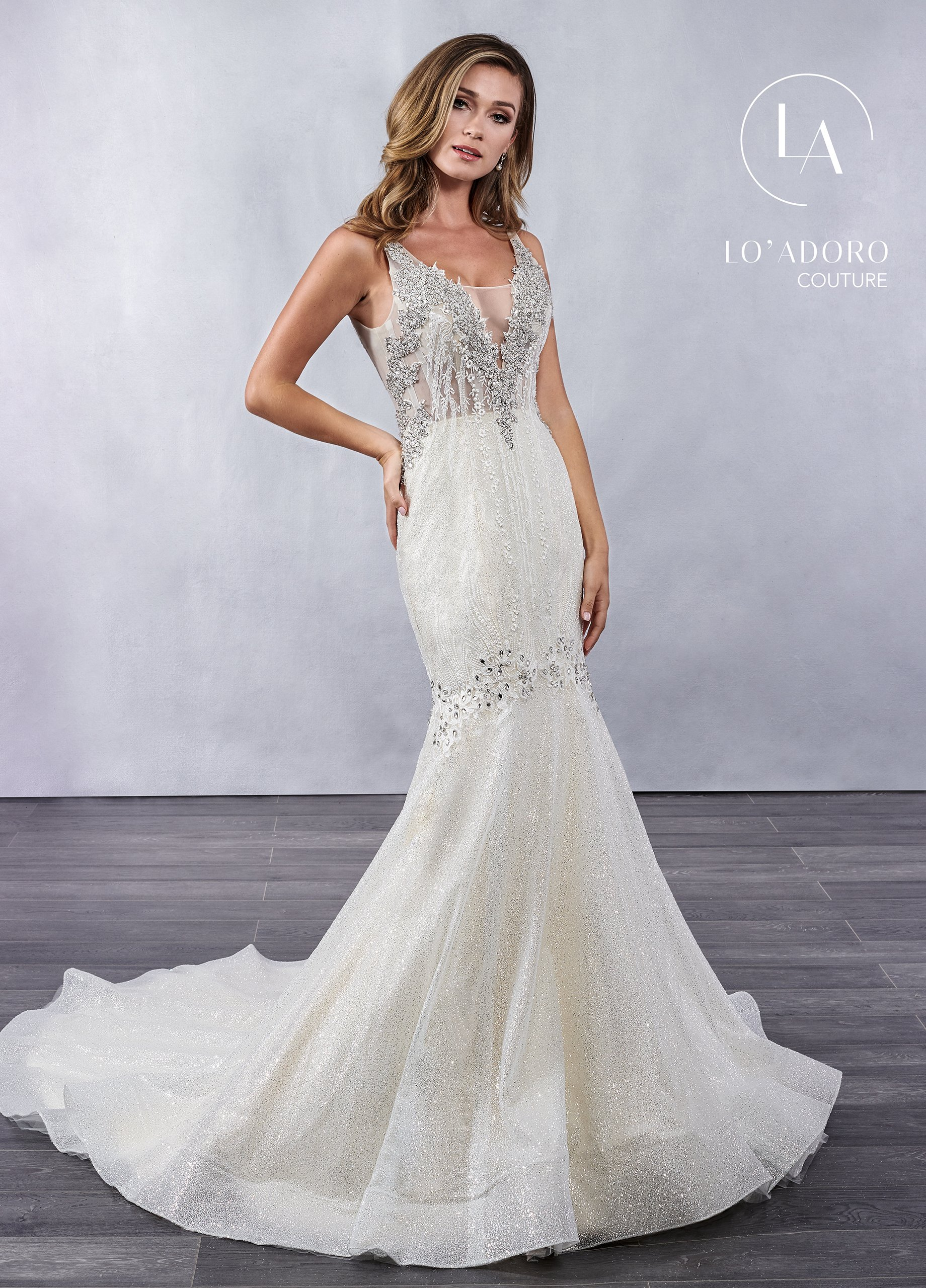 V-Neck Mermaid Lo' Adoro Couture BRIDAL in White Color