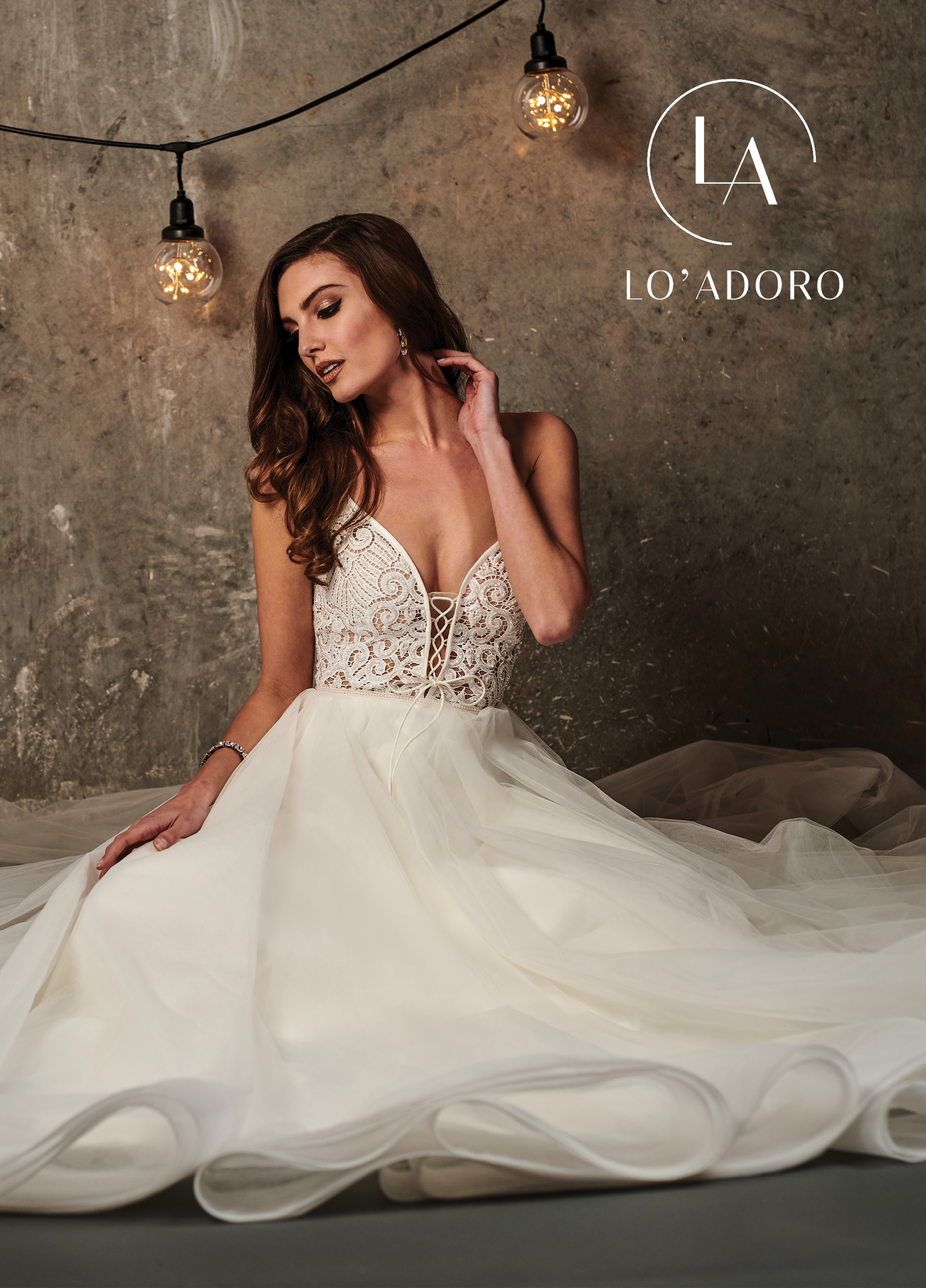 Lace Up A-Line Lo' Adoro Bridal in White Color