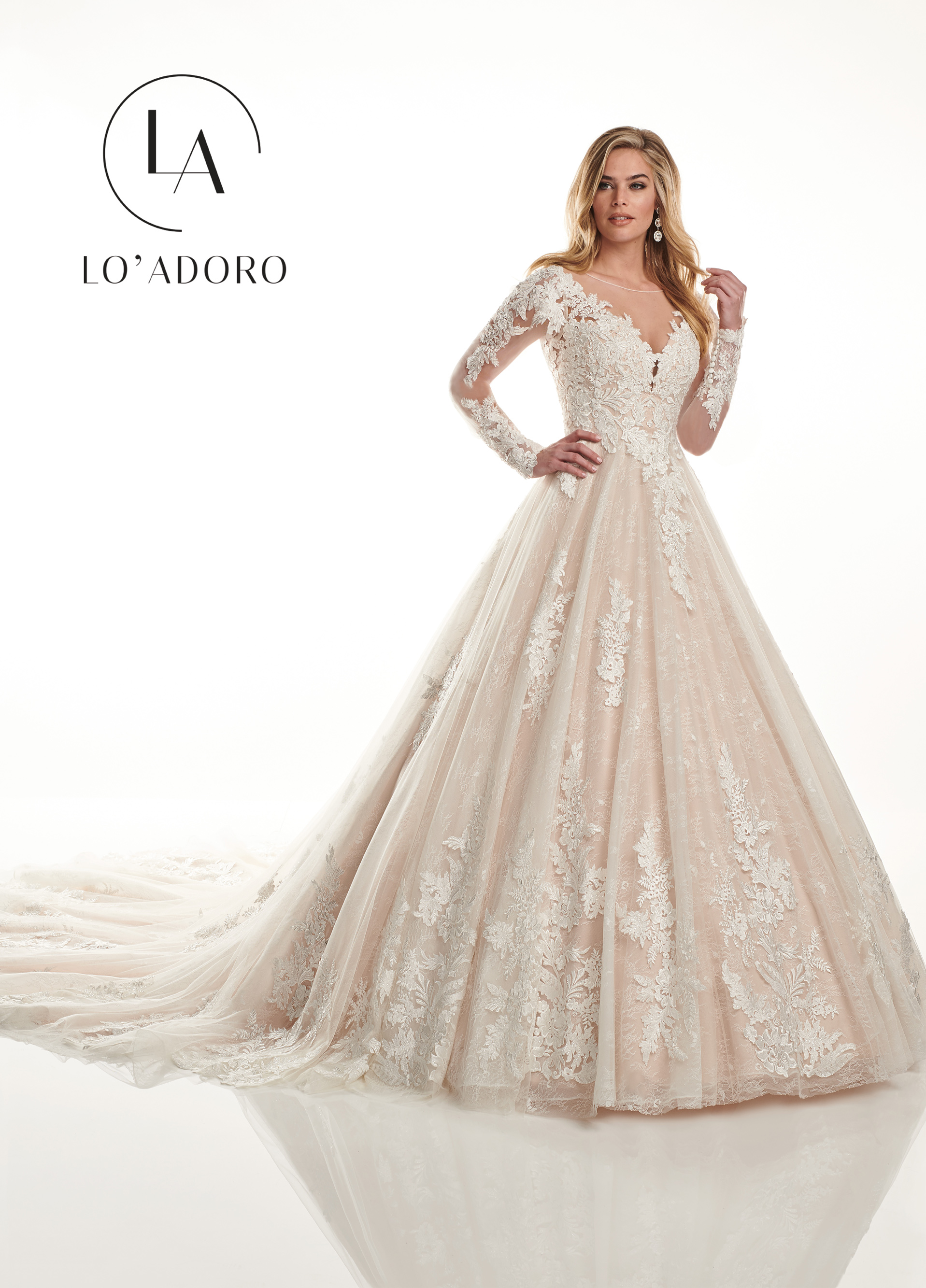 Sheer Ball Gowns Lo' Adoro Bridal in Nude Color