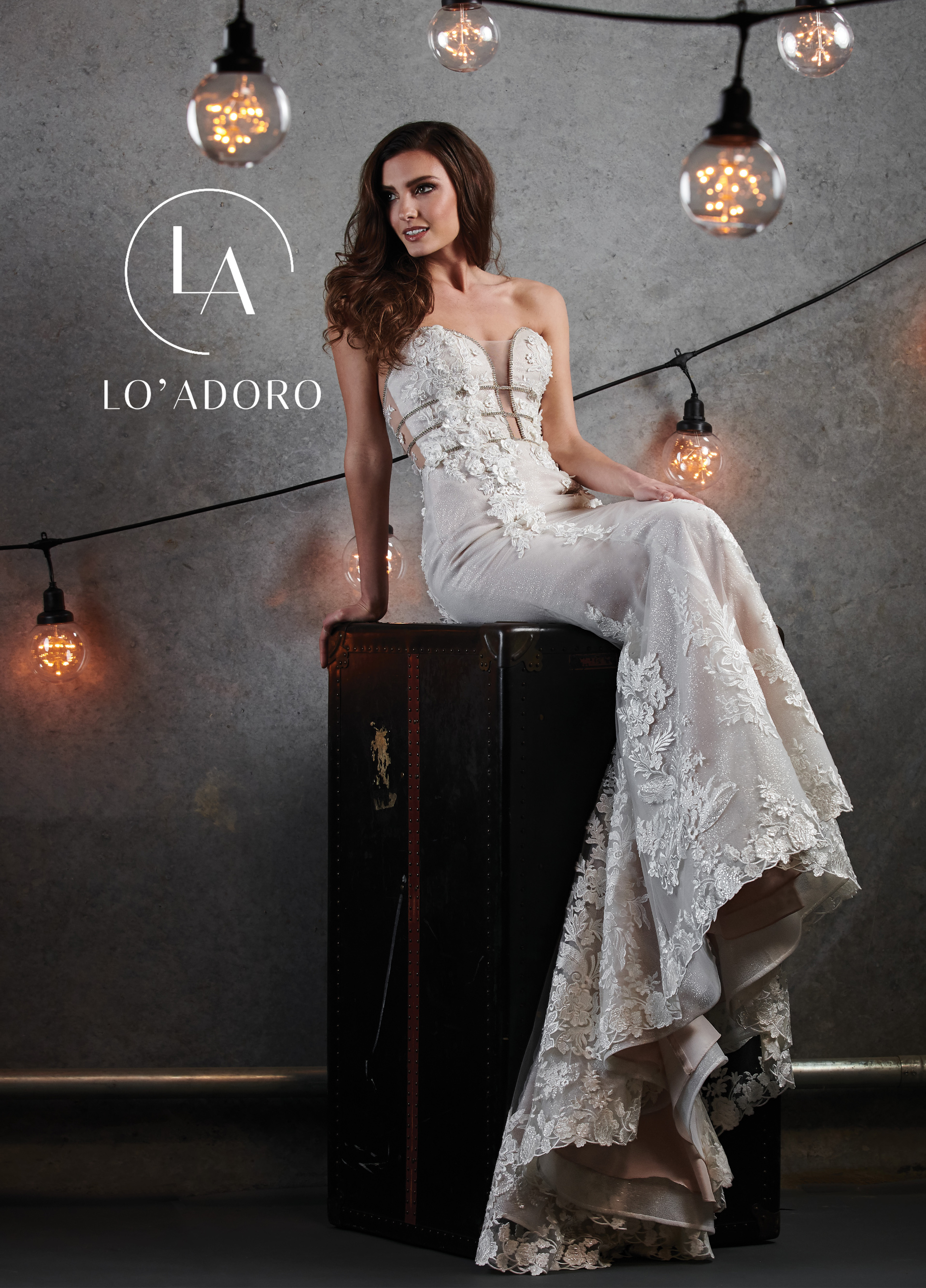 Strapless Fit & Flare Lo' Adoro Bridal in Nude Color