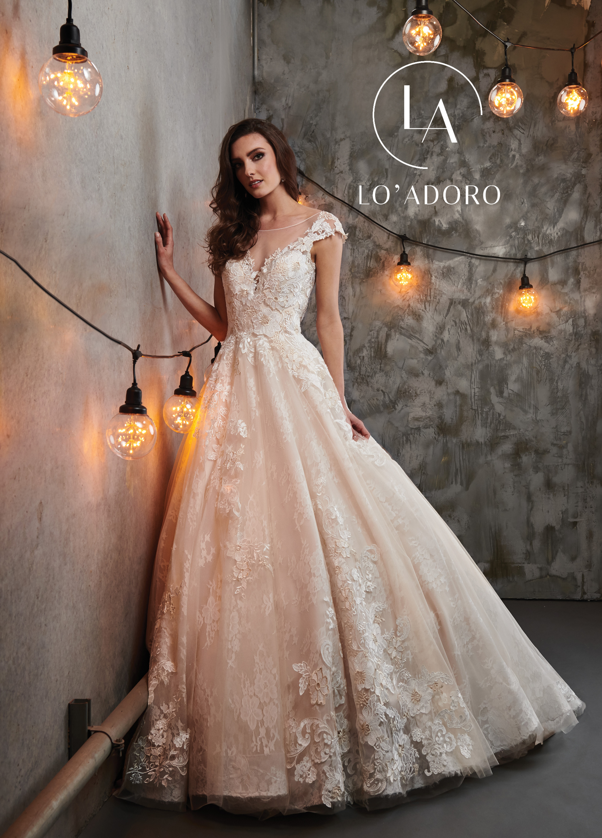 Sheer Ball Gowns Lo' Adoro Bridal in Champagne Color