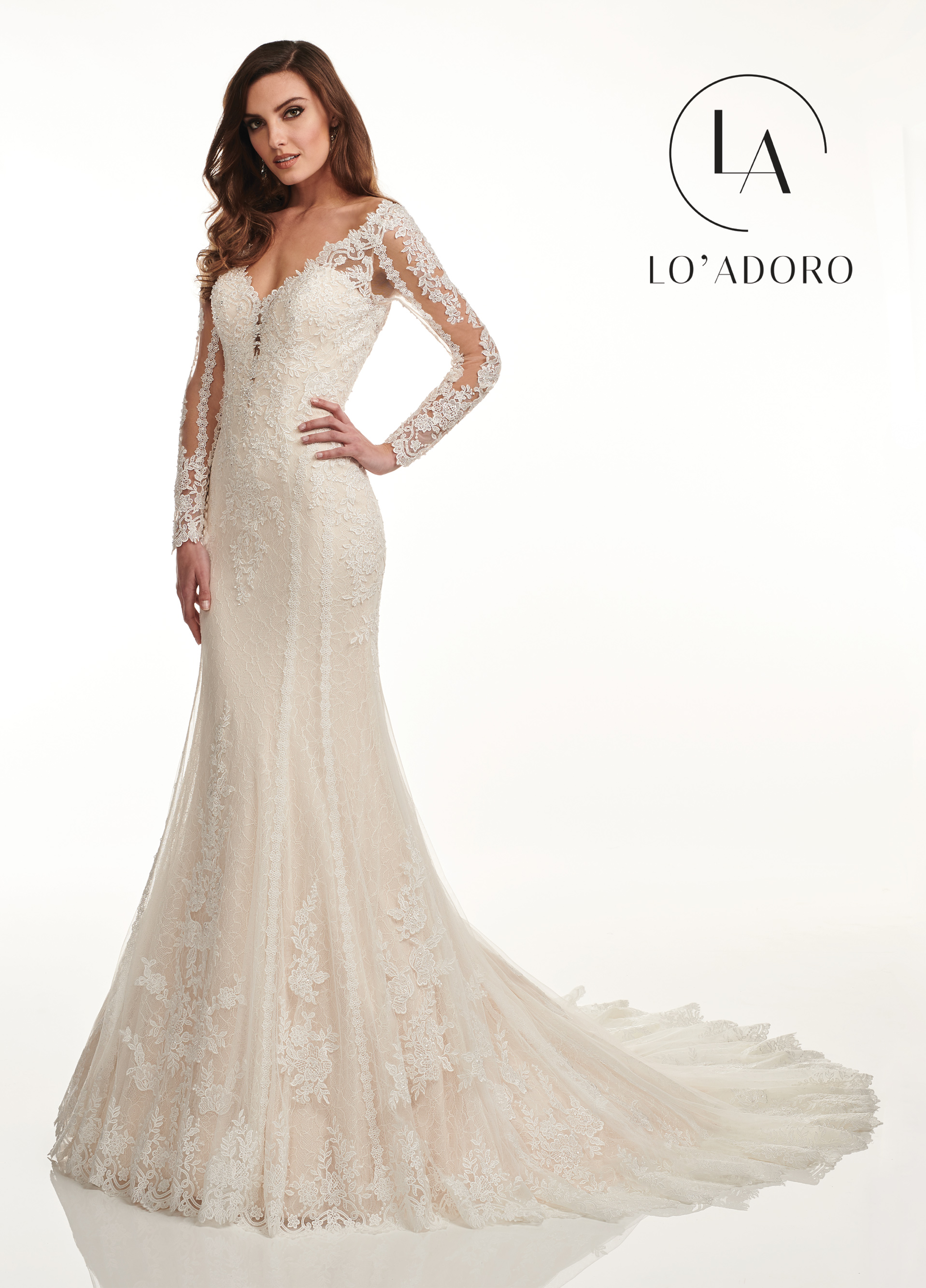 Wide Neck Fit & Flare Lo' Adoro Bridal in Nude Color