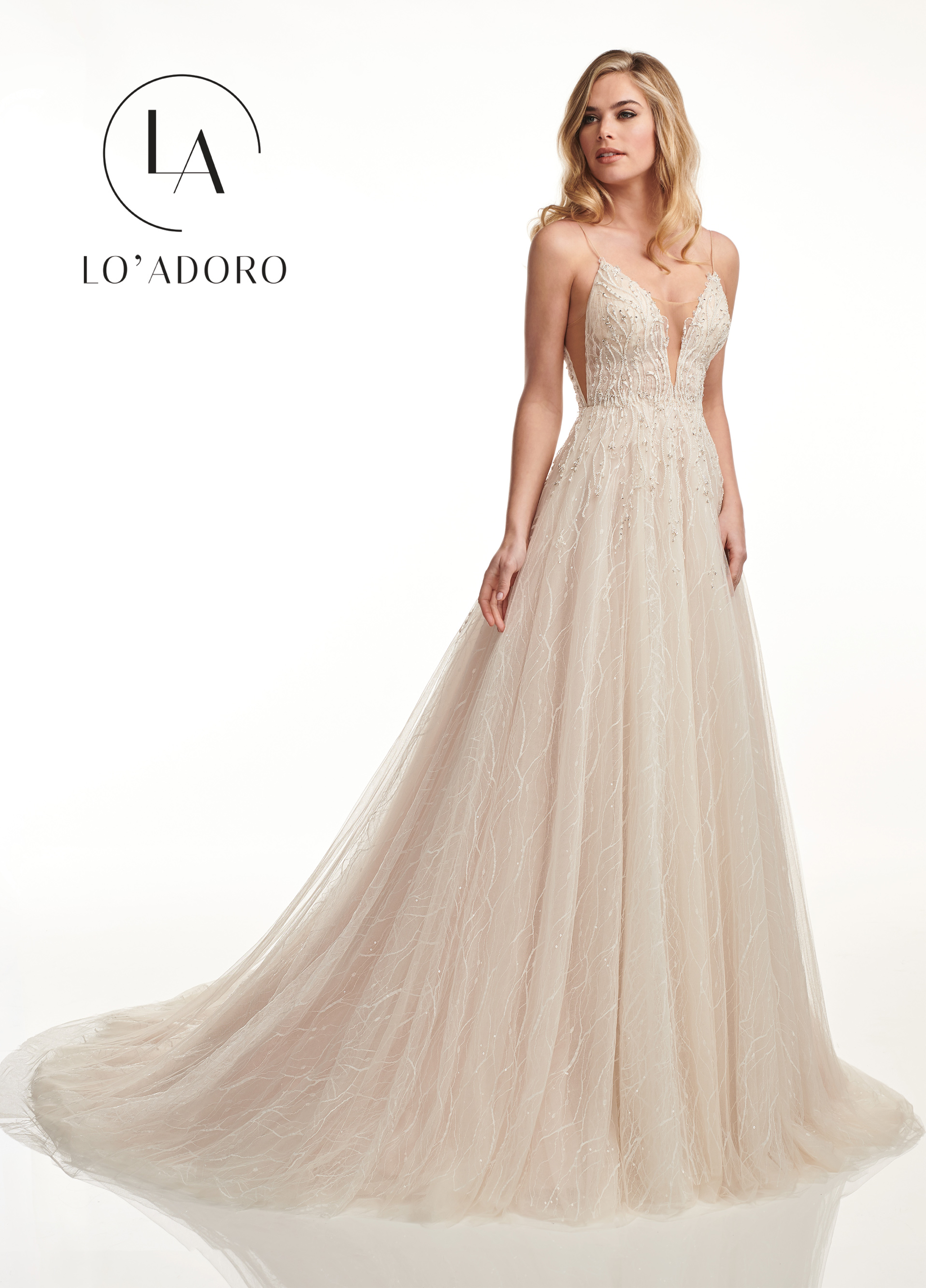 V-Neck A-Line Lo' Adoro Bridal in Nude Color