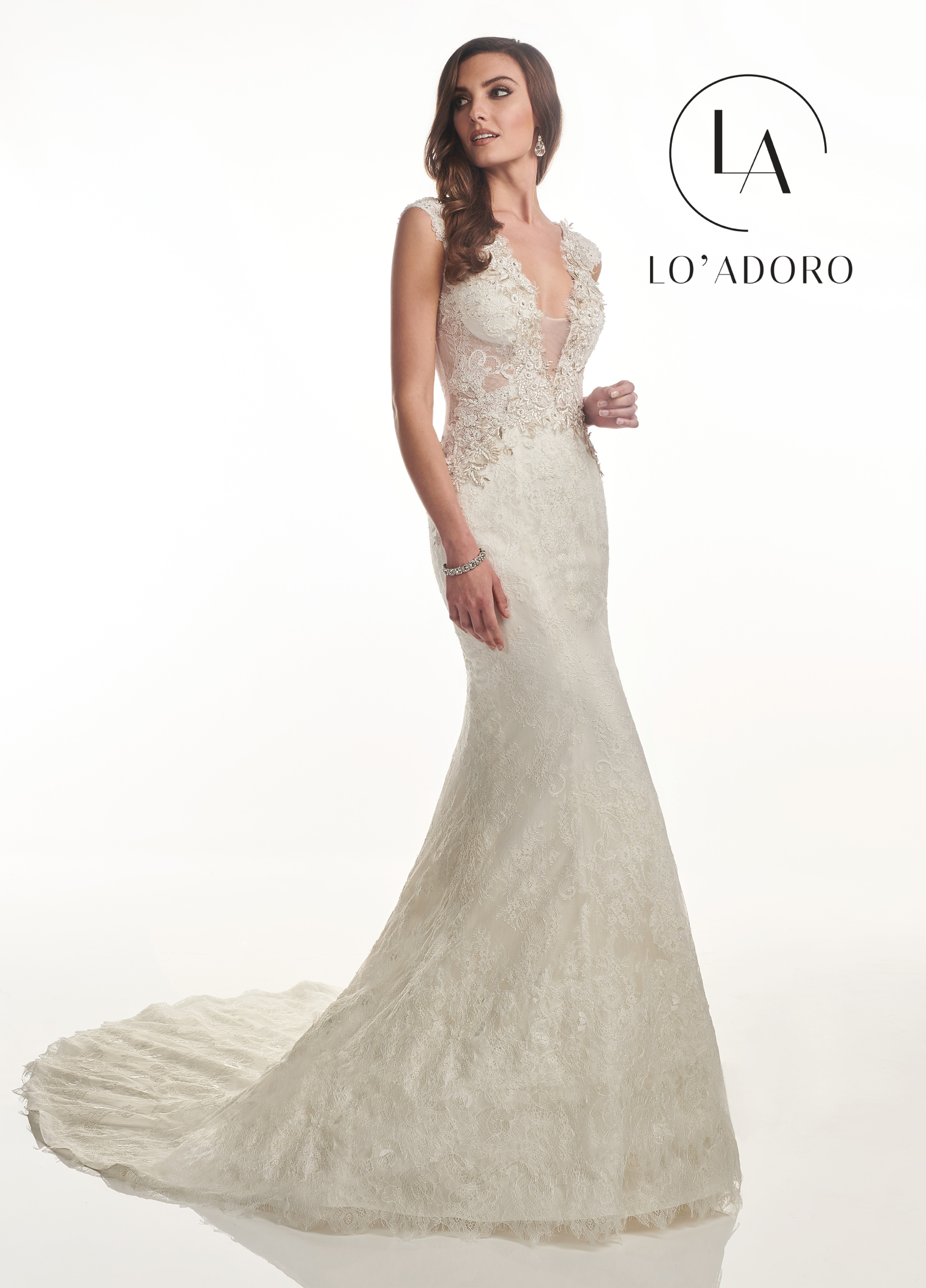 V-Neck Fit & Flare Lo' Adoro Bridal in White Color