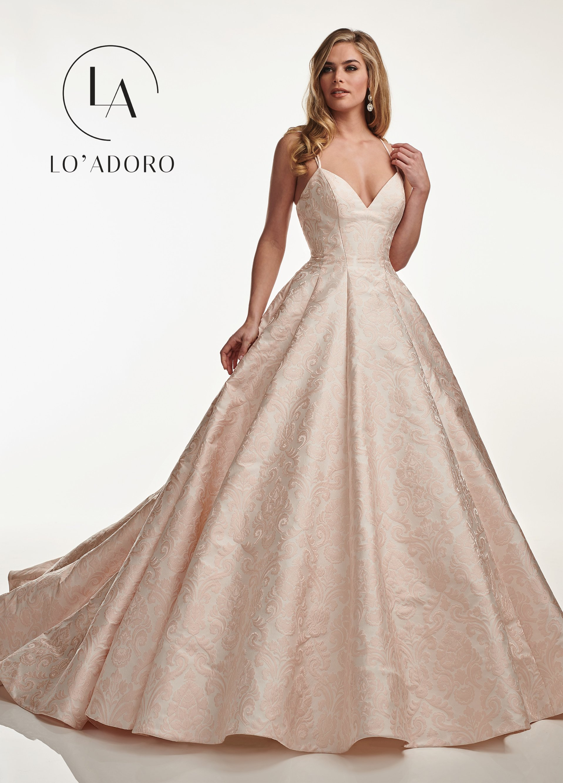 V-Neck Ball Gowns Lo' Adoro Bridal in Blush Color