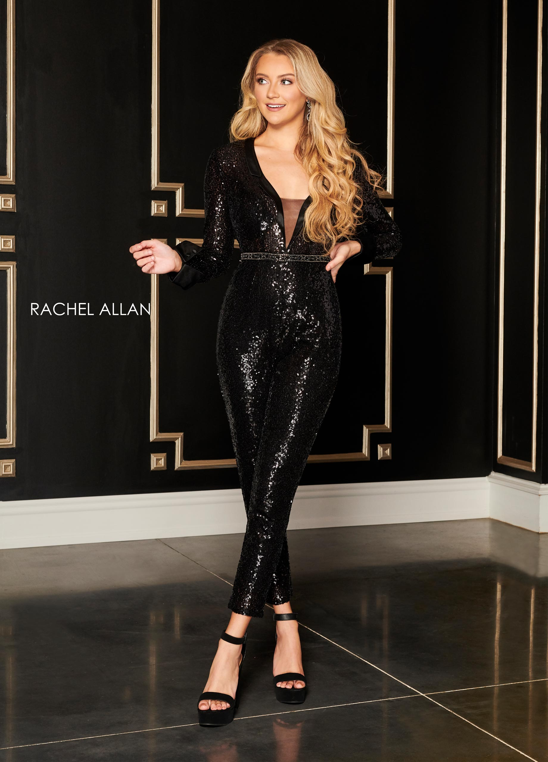 V-Neck Jumpsuit Cocktail Dresses in Black Color