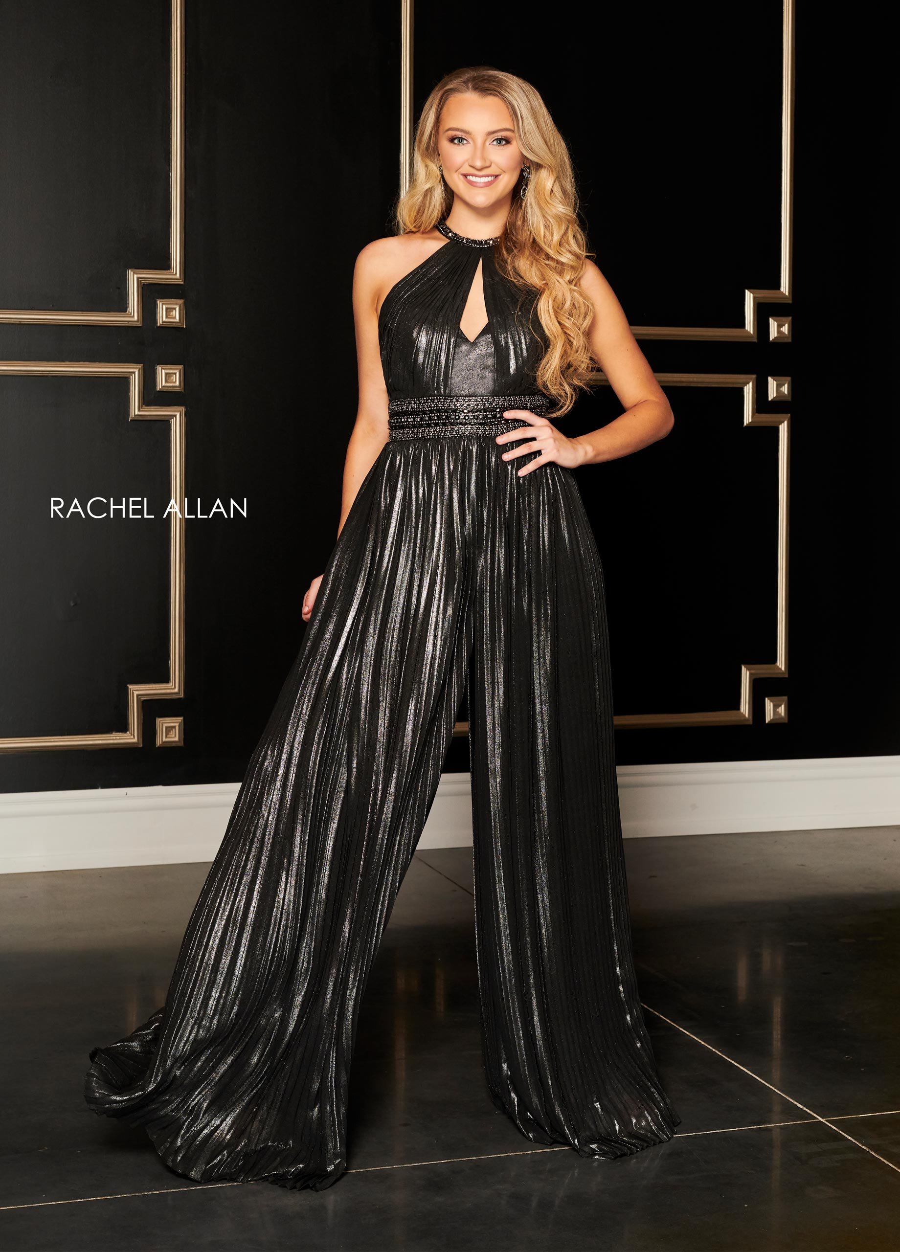 Beaded Jumpsuit Cocktail Dresses in Black Color