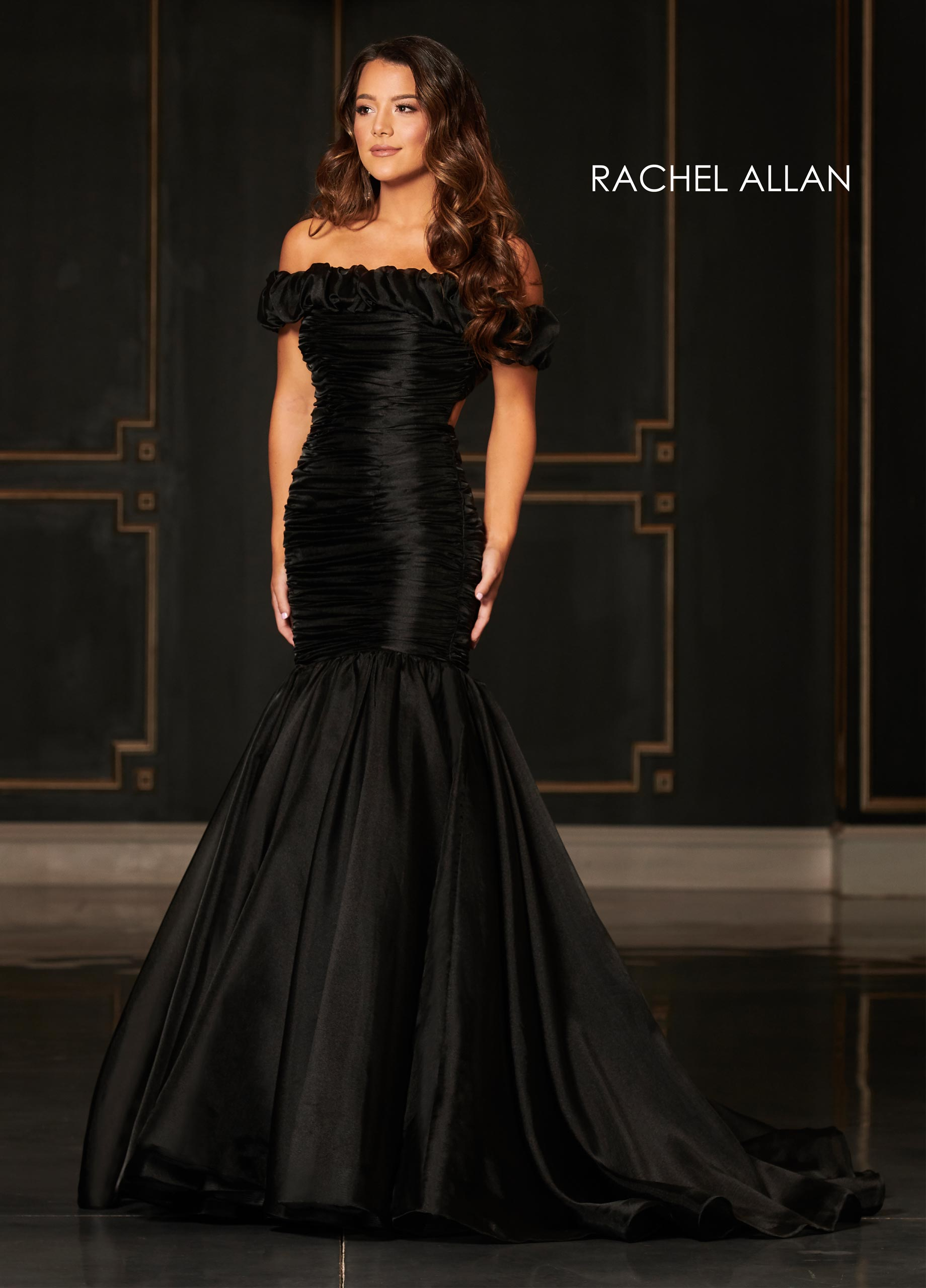 Off The Shoulder Drop Waist Couture Dresses in Black Color