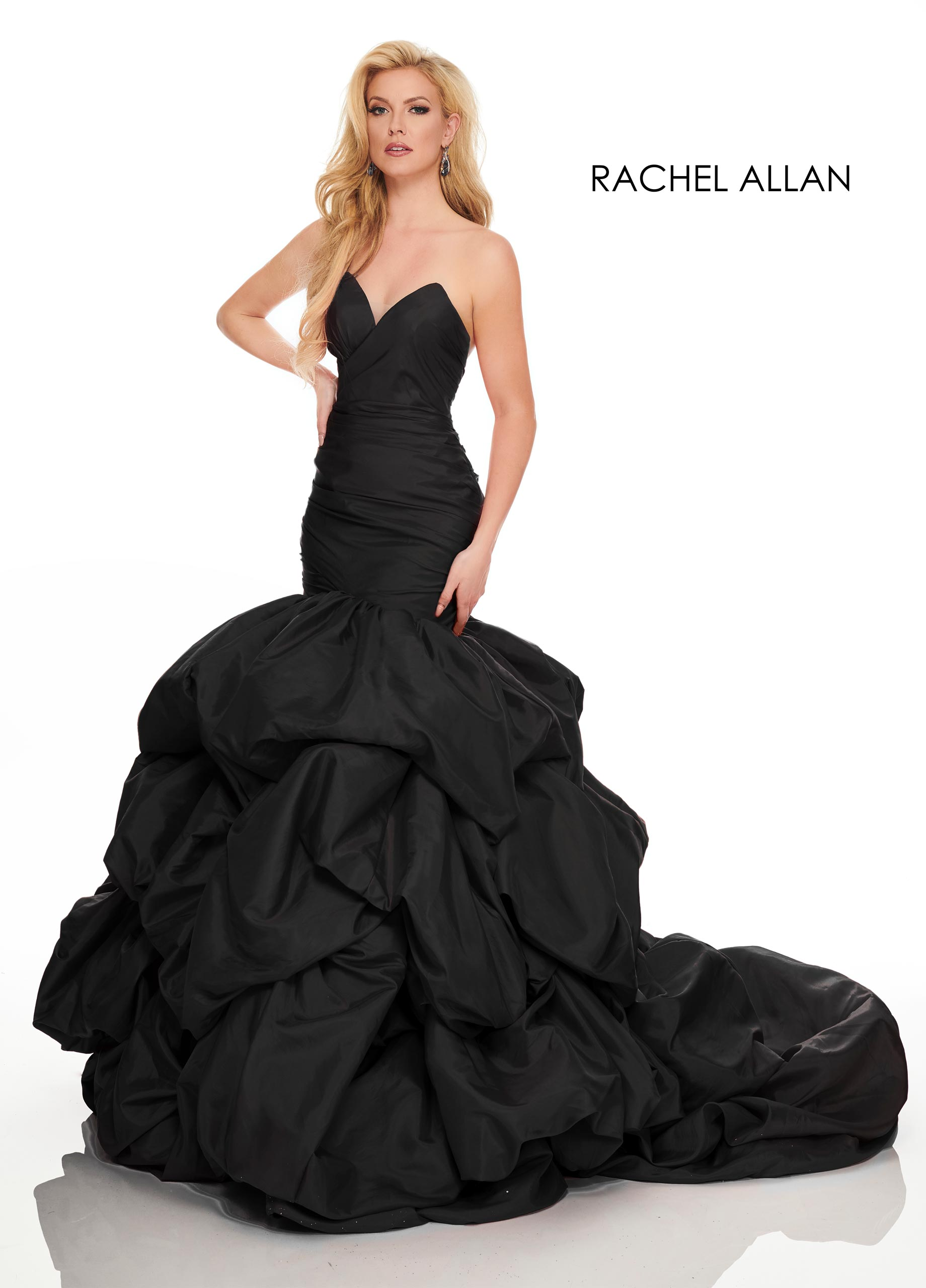 Strappy Drop Waist Couture Dresses in Black Color