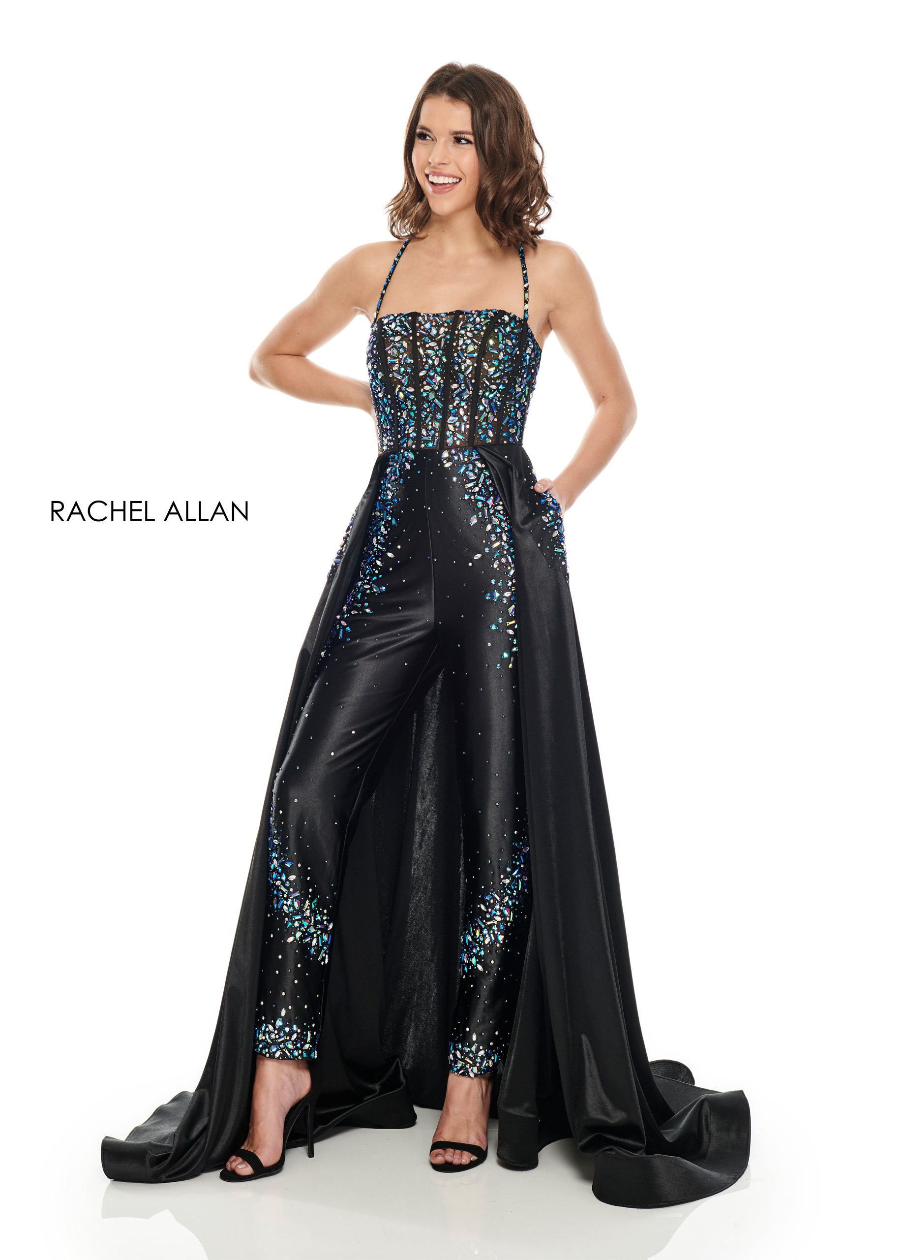 Square Pants With Overlay Prom Dresses in Black Color