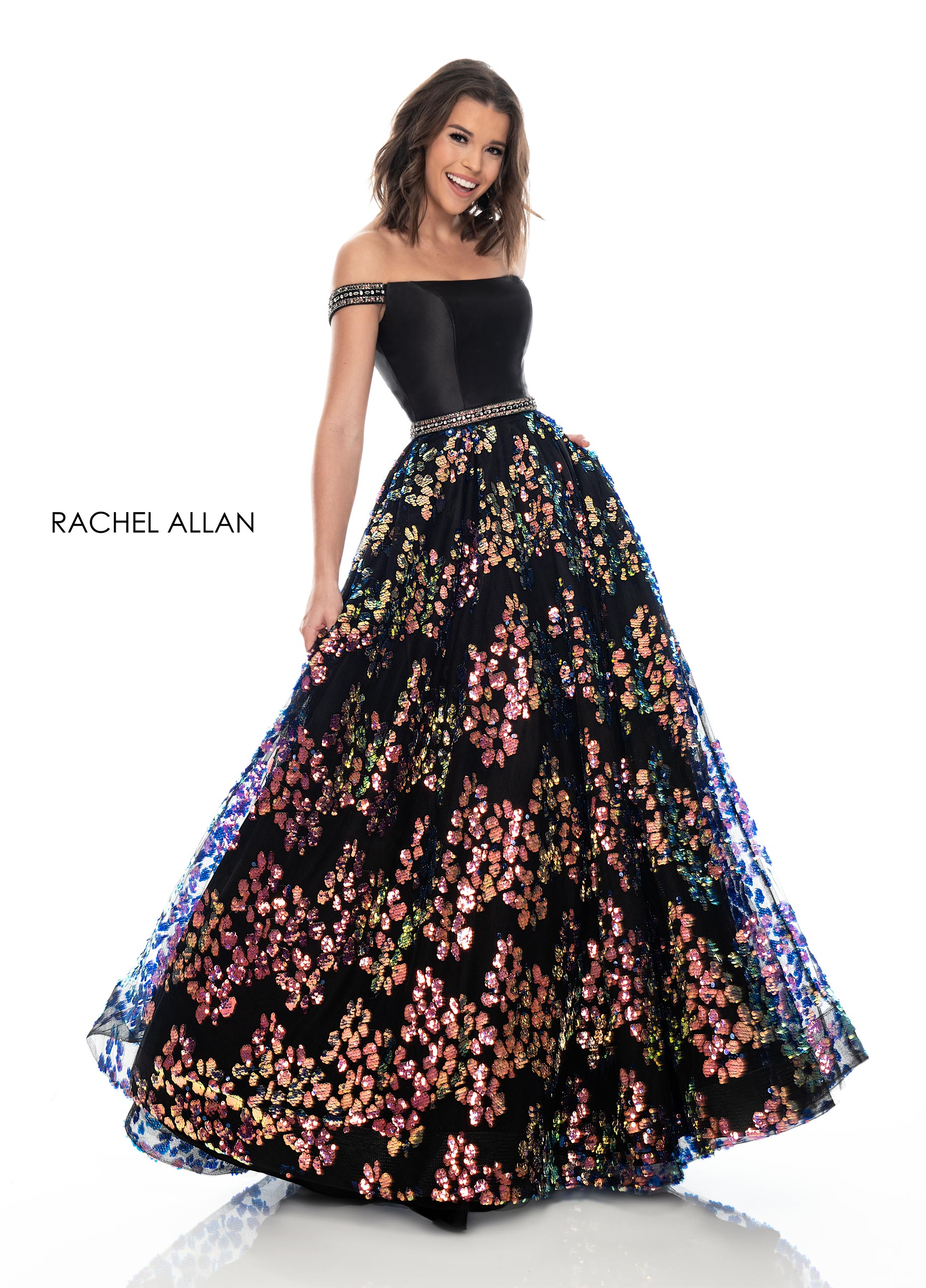 Off The Shoulder Ball Gowns Prom Dresses in Black Color