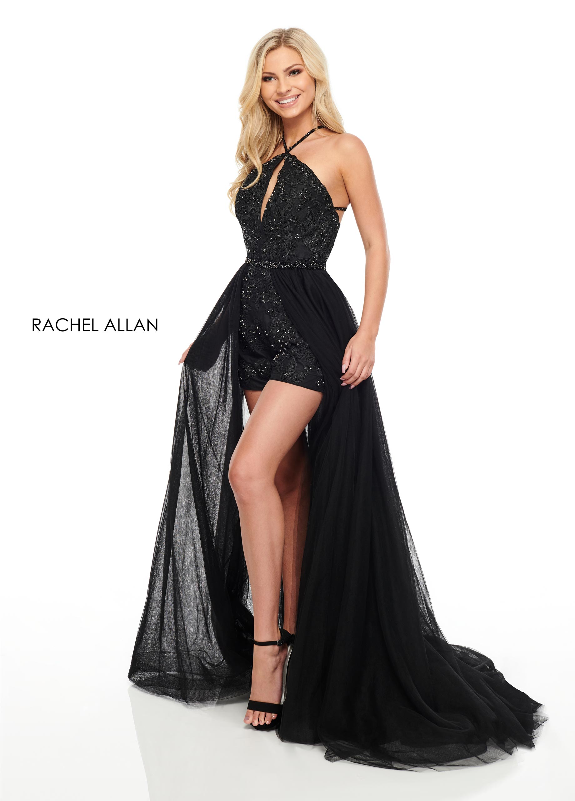 Halter Shorts With Overlay Prom Dresses in Black Color