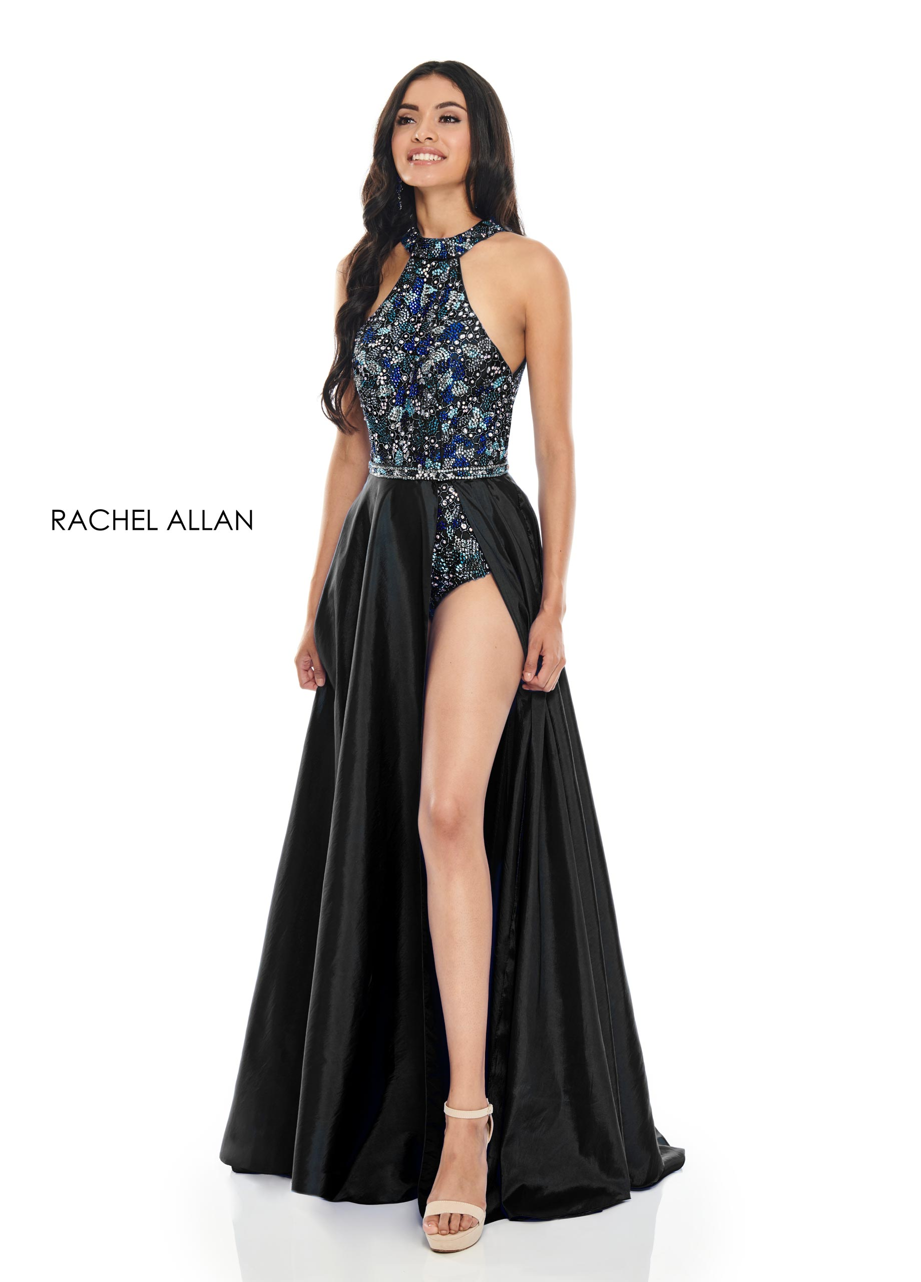 Beaded Bodysuit With Overlay Prom Dresses in Black Color