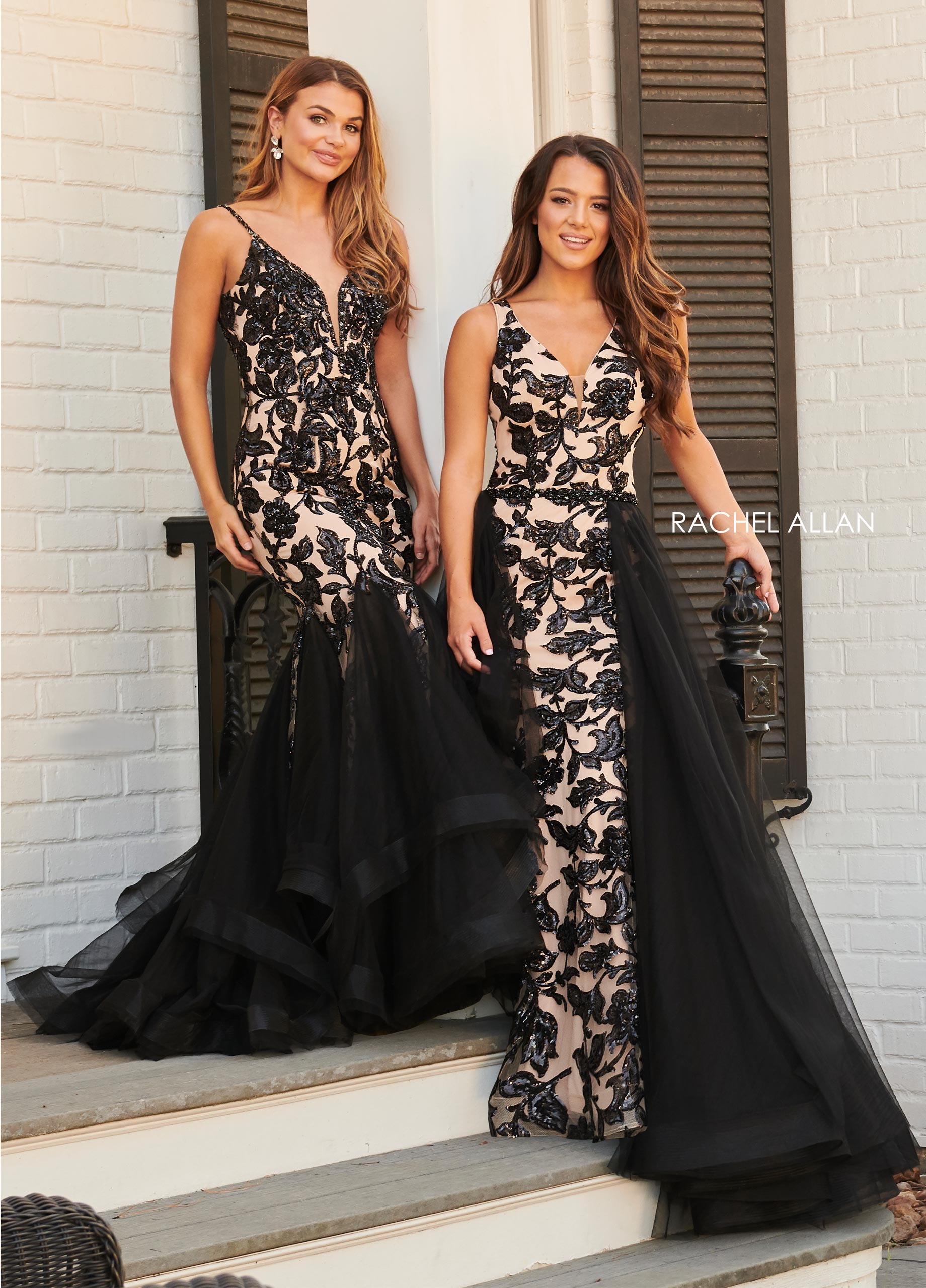 V-Neck Skirt With Overlay Prom Dresses in Black Color