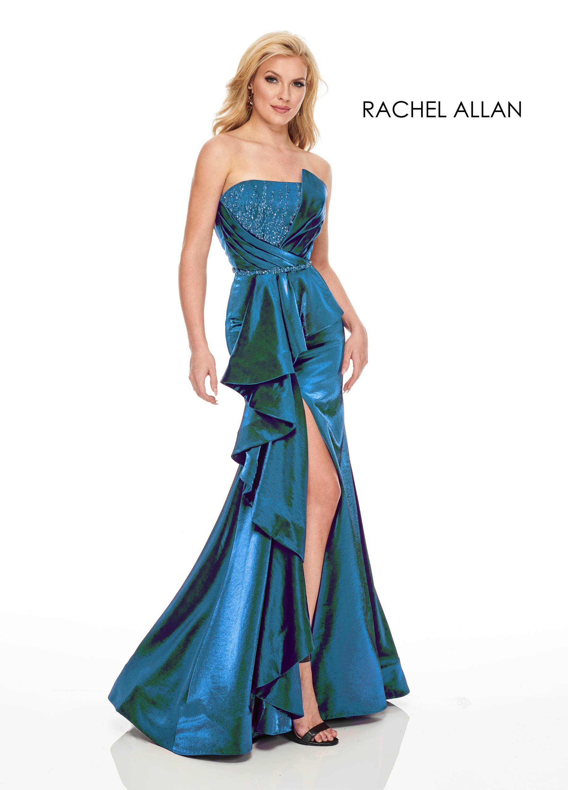 Strapless Mermaid Couture Dresses in Blue Color